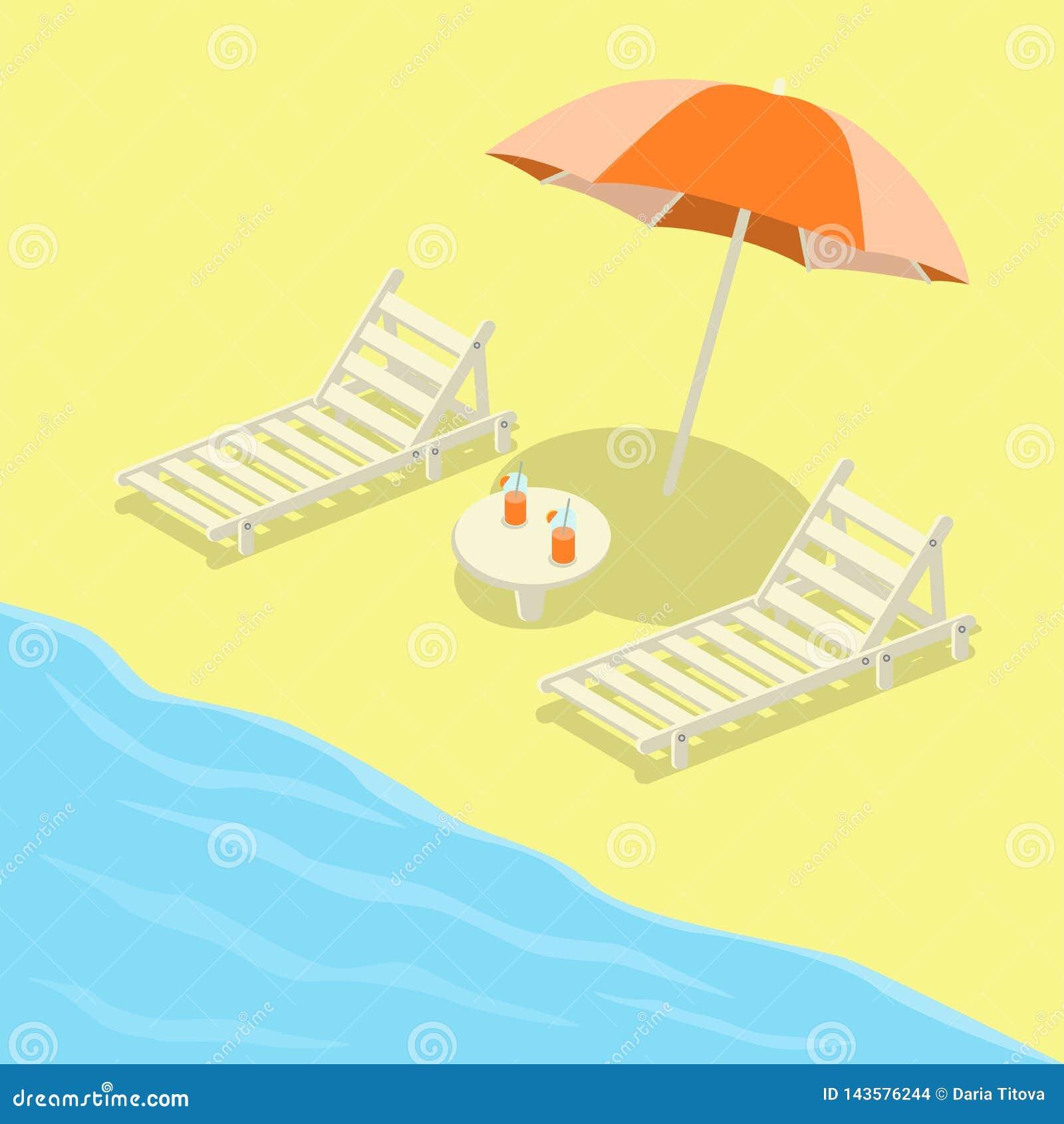 Deckchairs на пляже с зонтиком