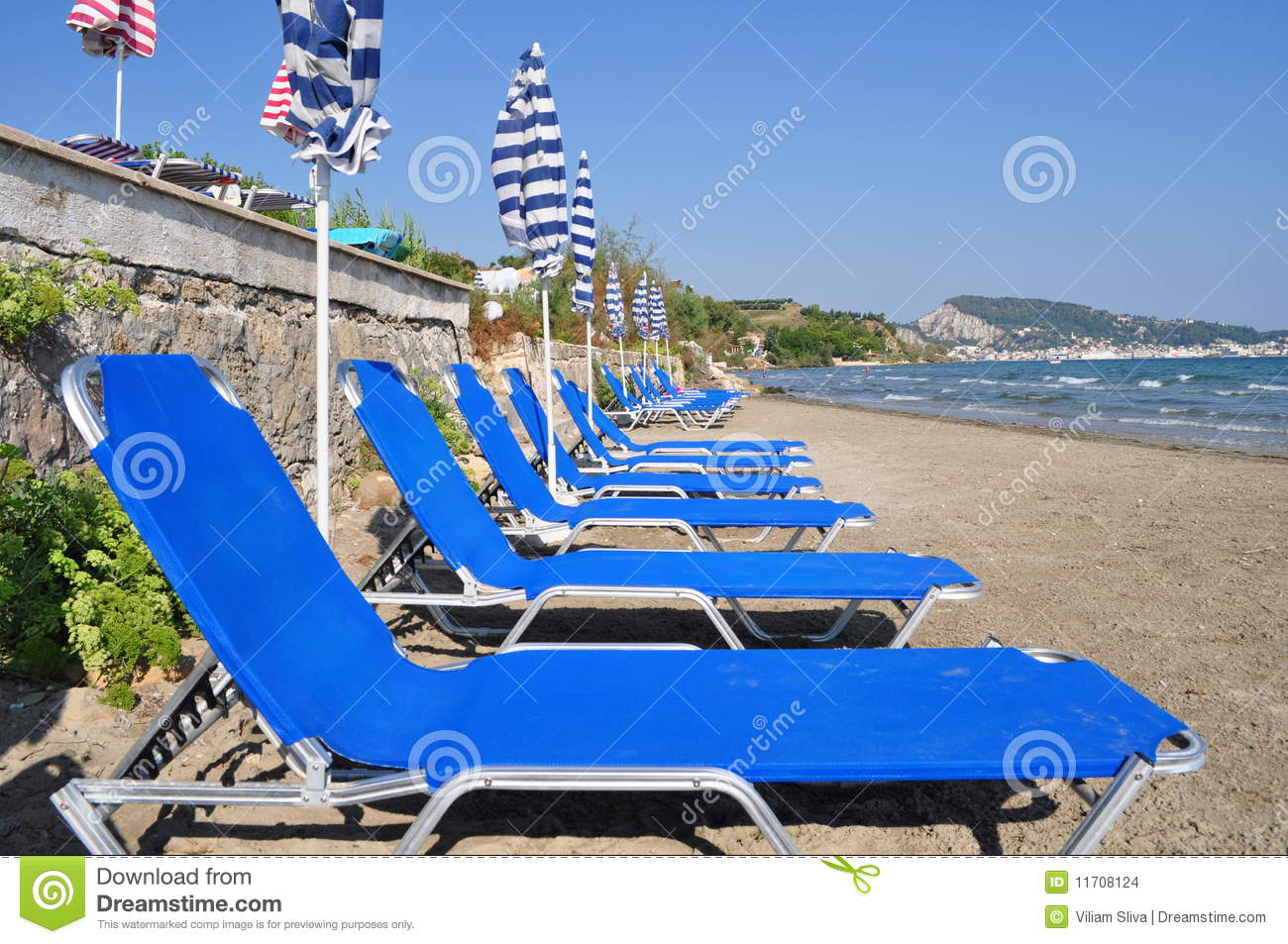 Deckchairs and sunshades