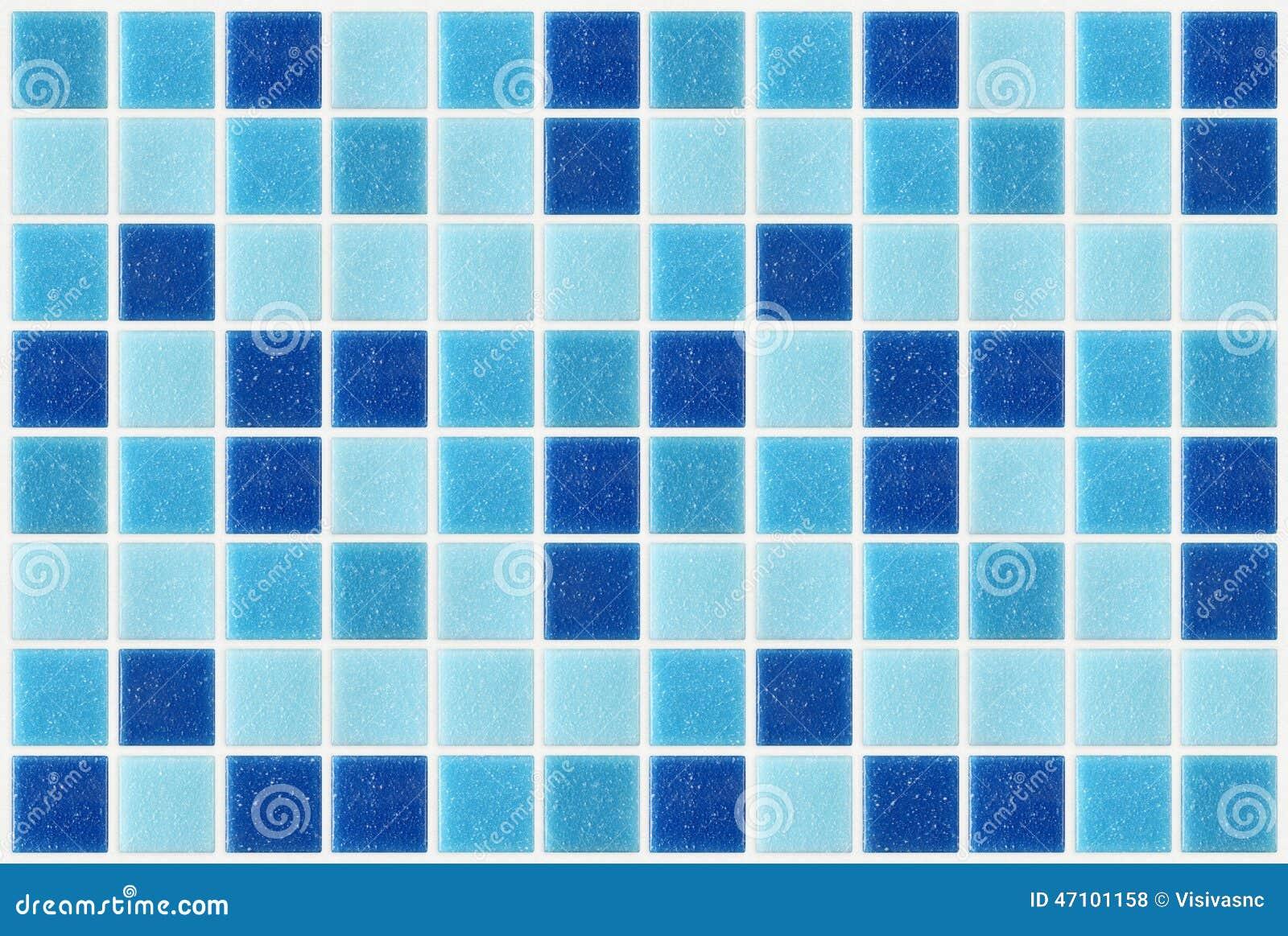Decken Sie den quadratischen blauen Beschaffenheitshintergrund des Mosaiks mit Ziegeln, der mit glitte verziert wird