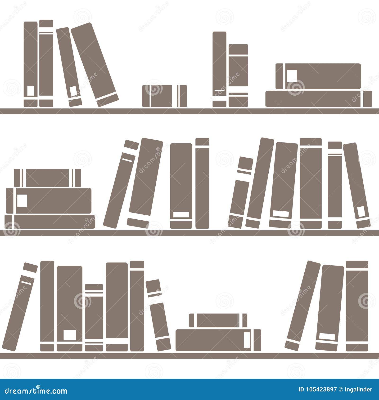 Decken Sie Vektormuster mit Büchern auf Regal auf weißem Hintergrund mit Ziegeln