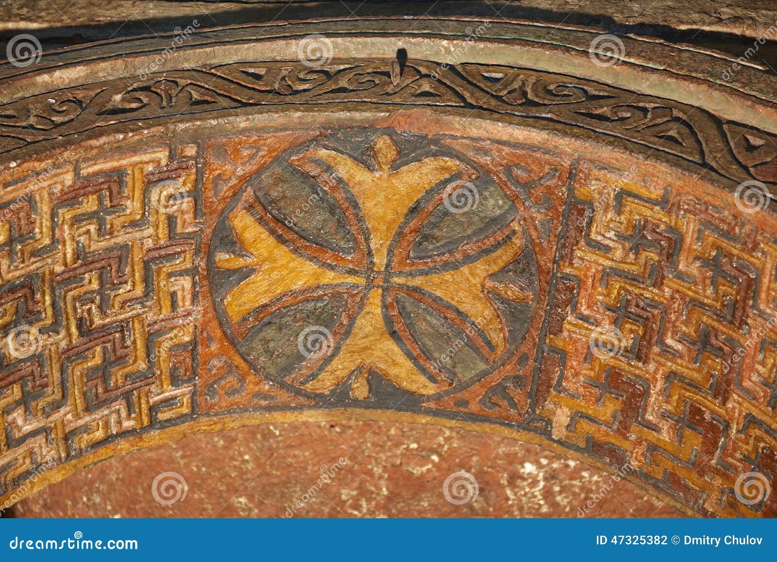 Deckendekoration, stein-gehauene Kirche, Lalibela, Äthiopien Der meiste populäre Platz in Vietnam
