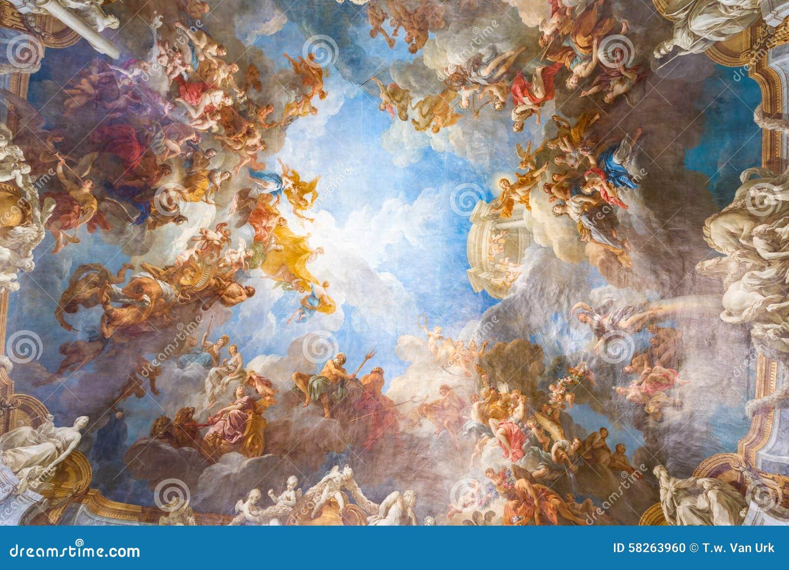 Deckenmalerei des Palastes Versailles nahe Paris, Frankreich