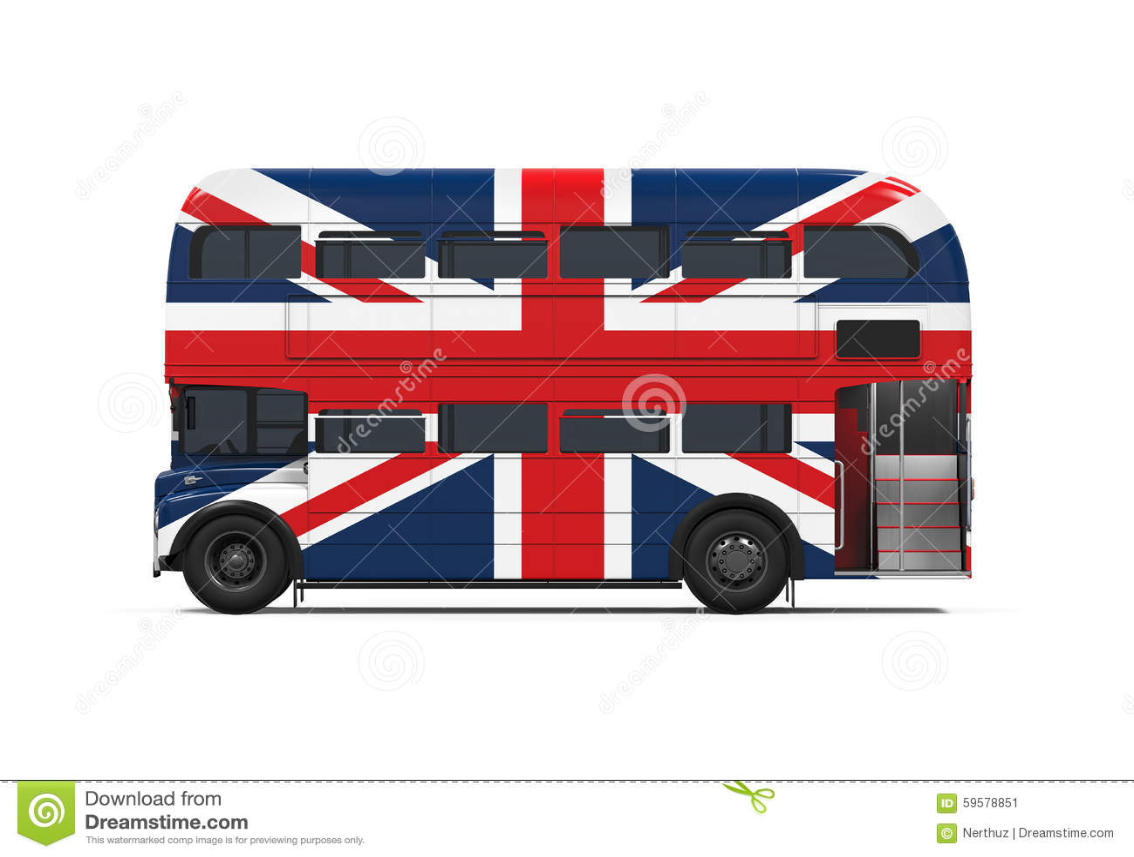 Decker Bus Britain Flag doble
