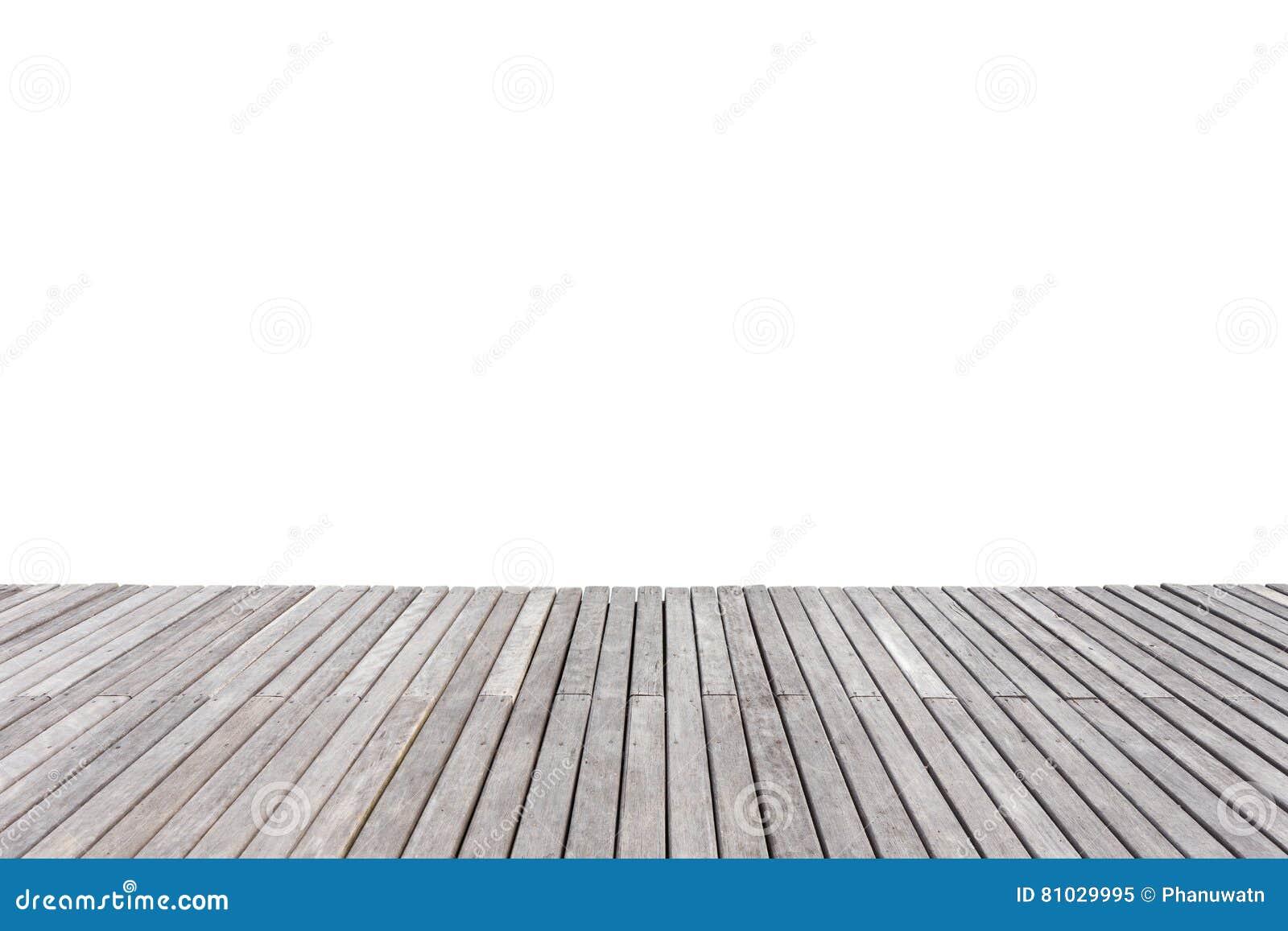 Decking o suelo de madera exterior viejo aislado en blanco salvado