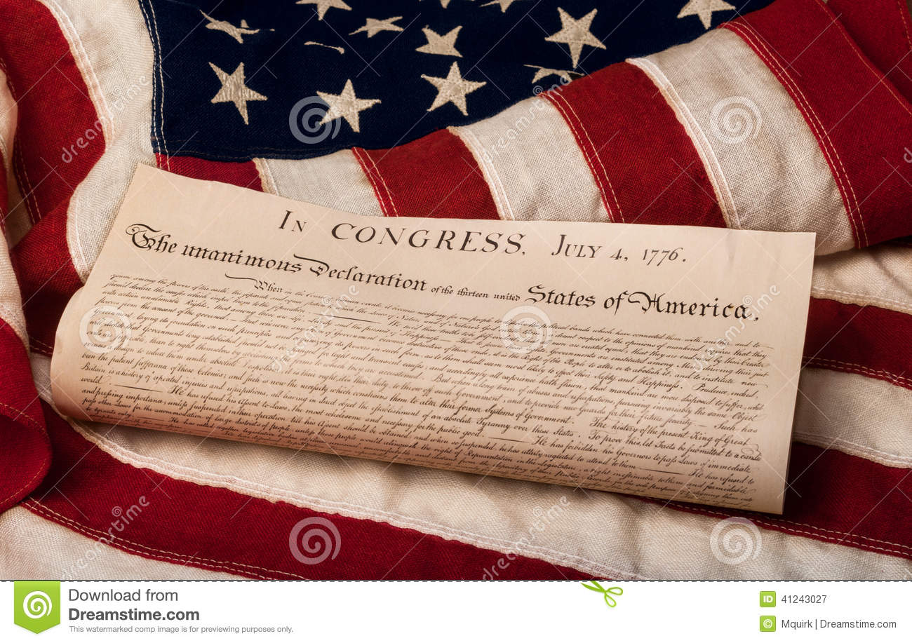 declaration of independence on an american flag stock