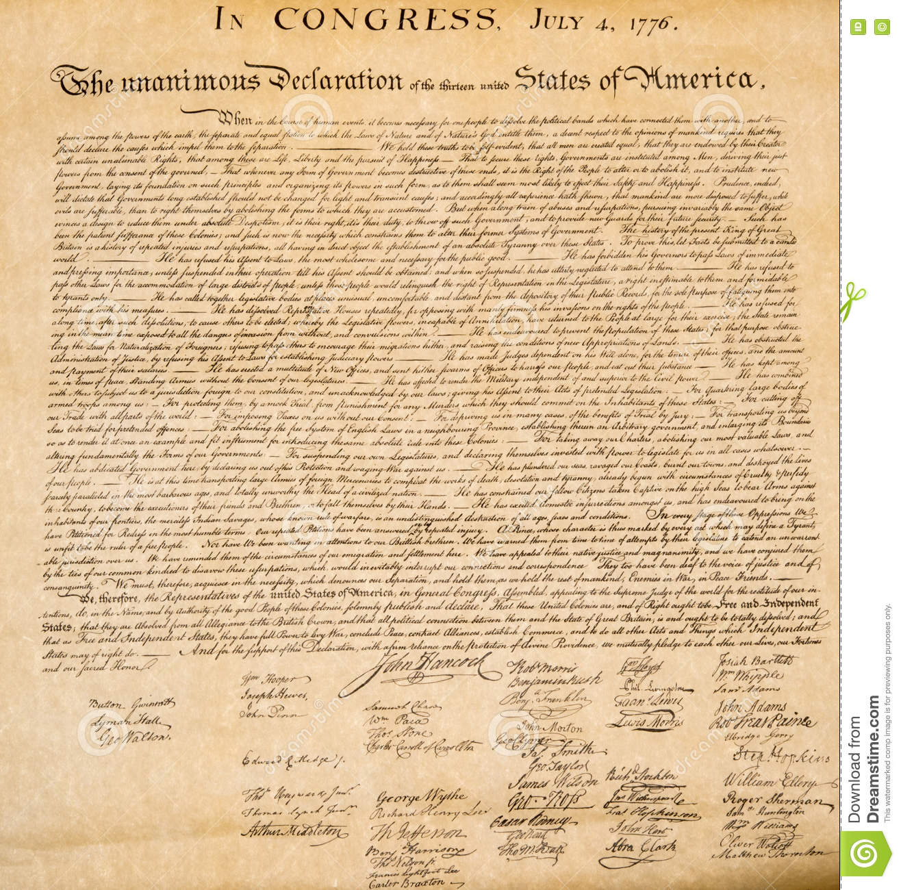 Declaration Of Independence Th July  Close Up Stock Image  American Declaration Of Independence Th July  Detail