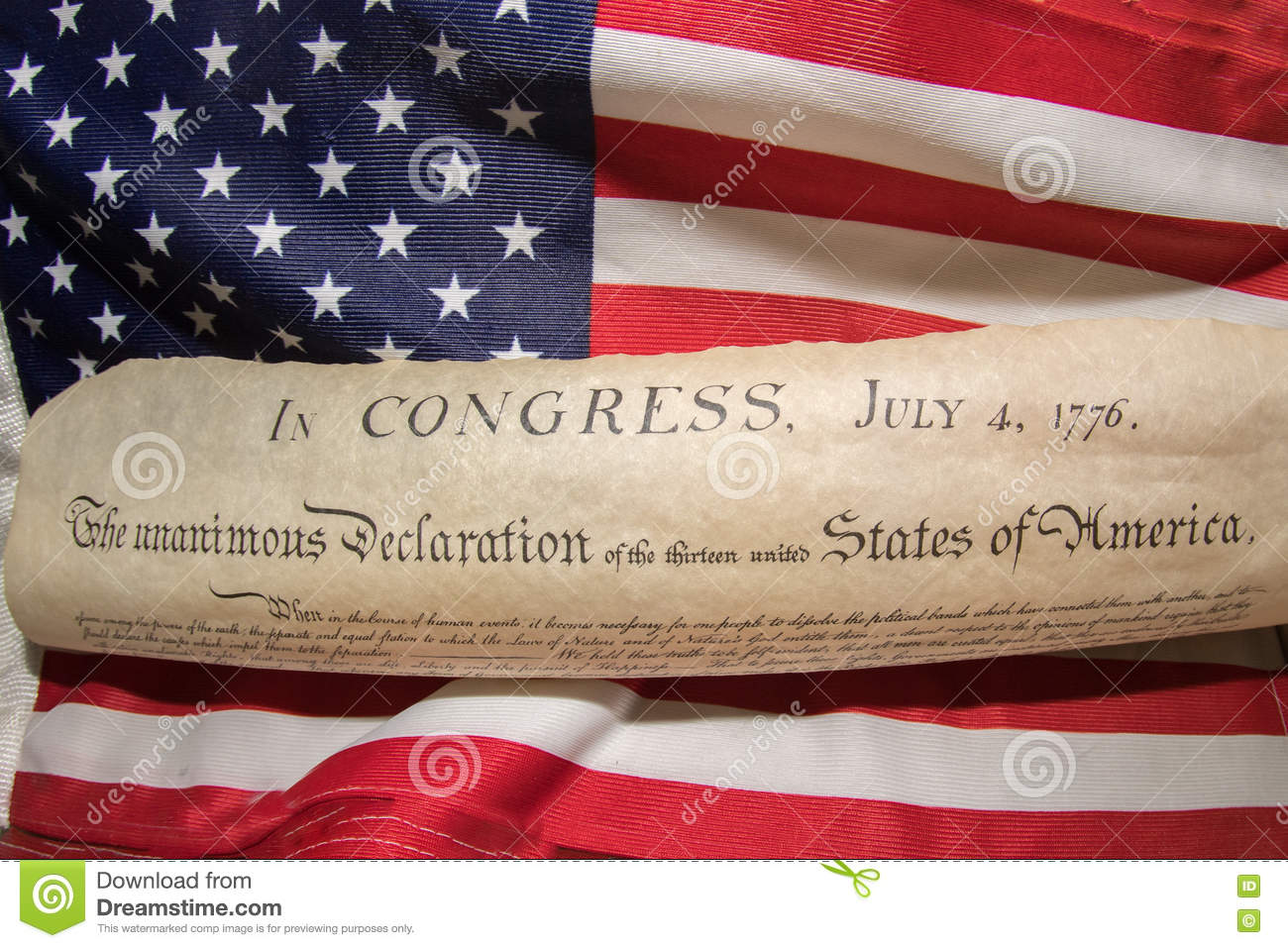 Declaration of independence 4th july 1776 on usa flag