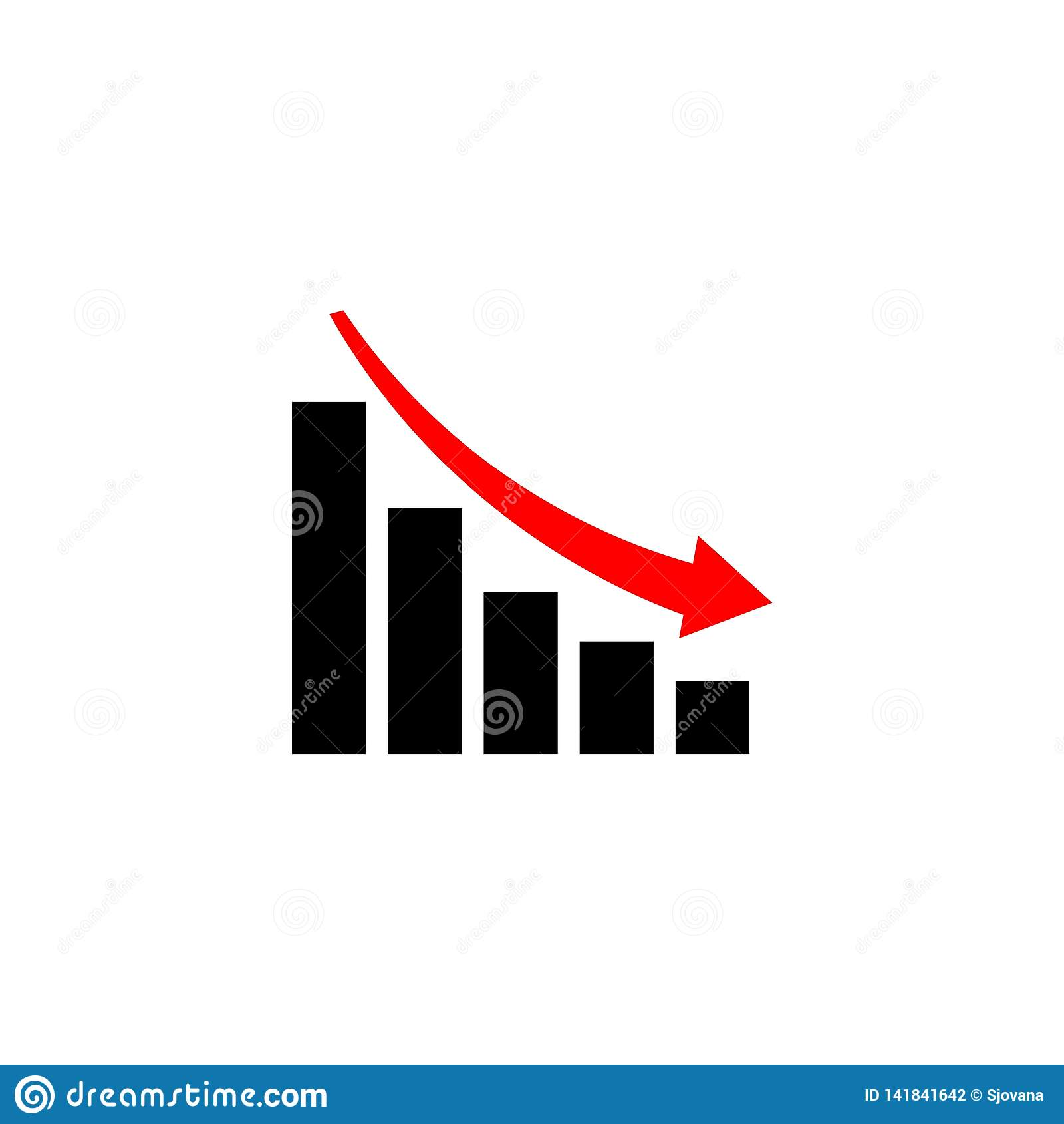 Decline Graph, Chart with bars declining, Chart icon