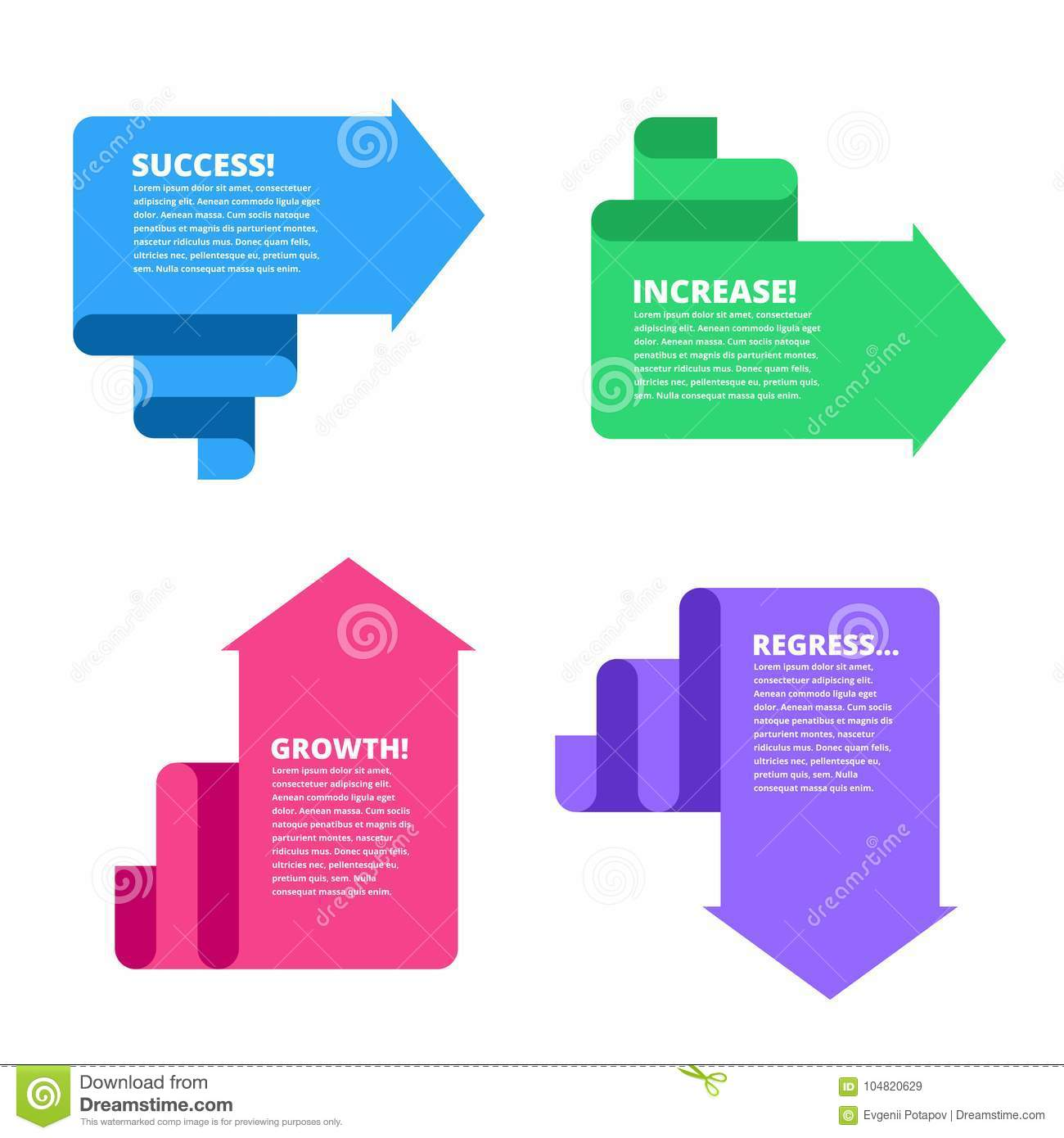 Recession, decline, growth, increase, success business arrows. F