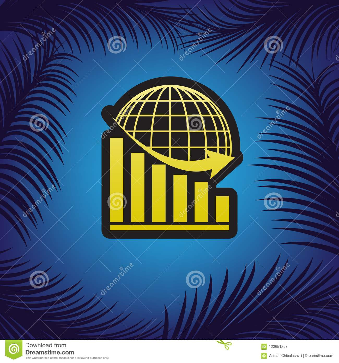Declining graph with earth. Vector. Golden icon with black contour at blue background with branches of palm trees.. Illustration.
