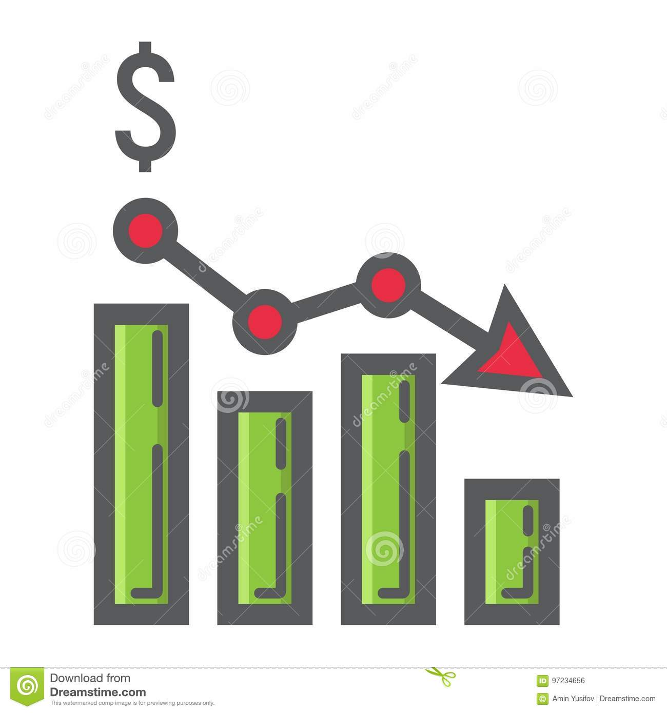 Declining graph filled outline icon, business