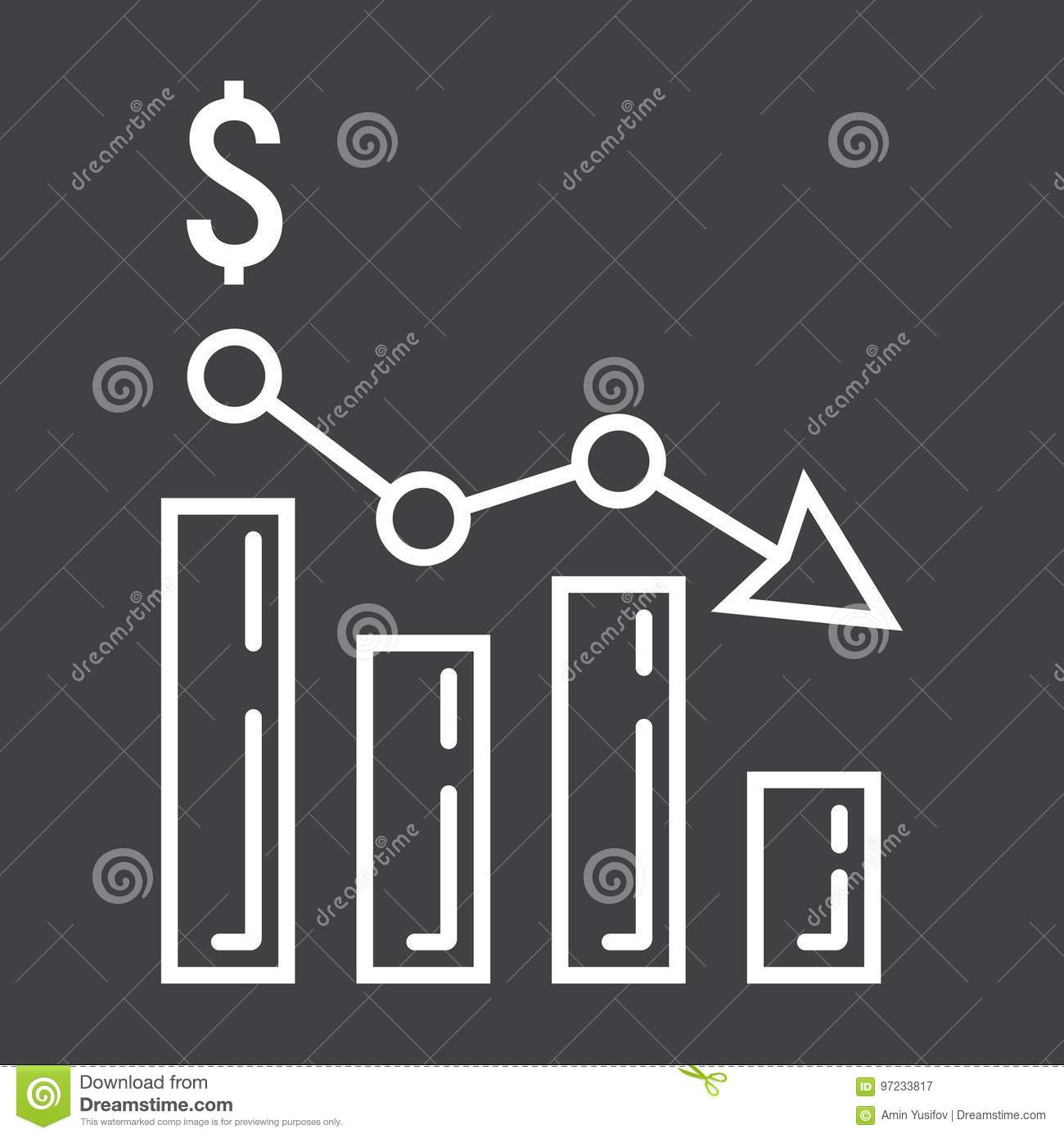 Declining graph line icon, business and finance