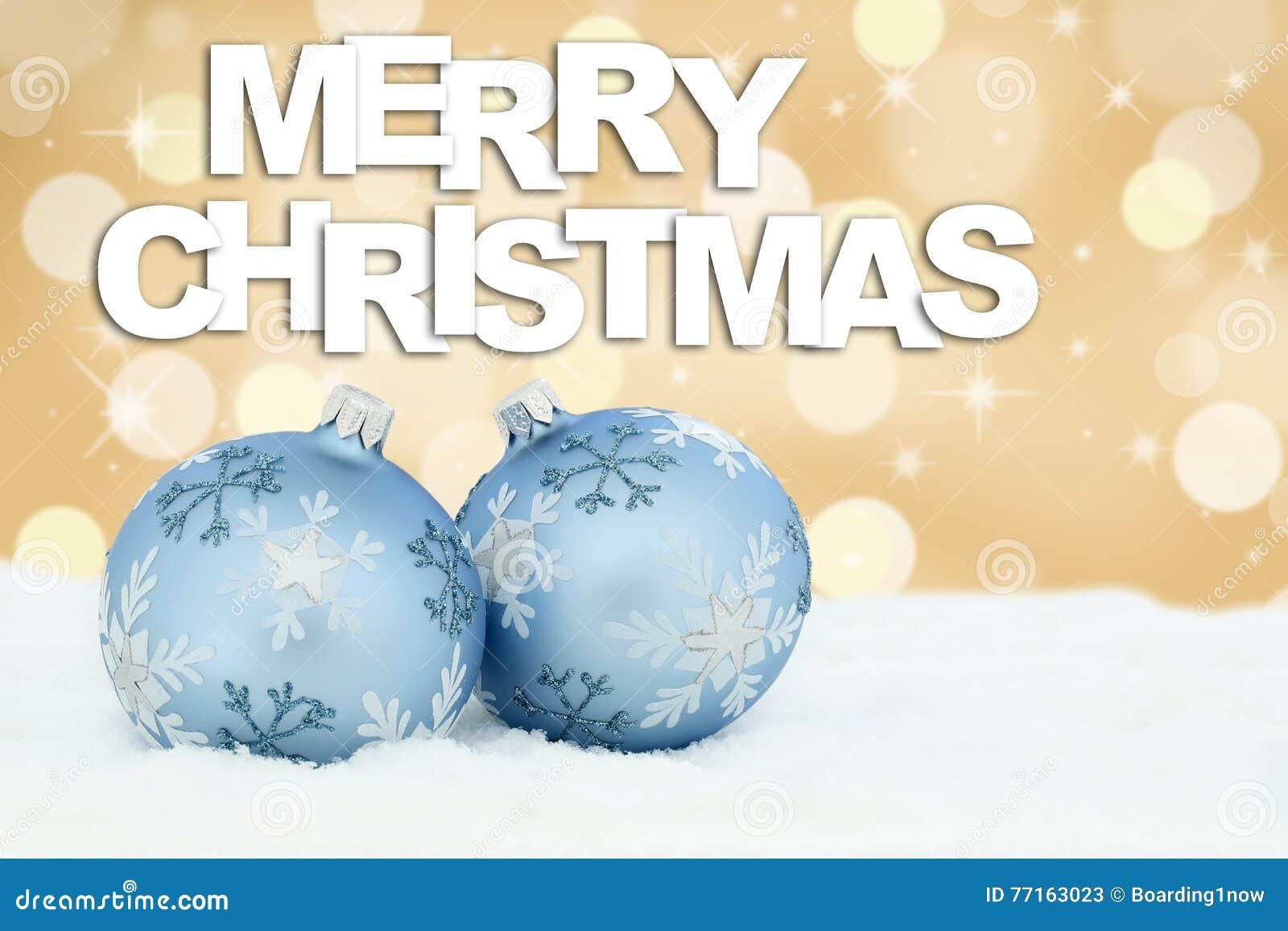 Deco d or de décoration de fond de boules de carte de Joyeux Noël