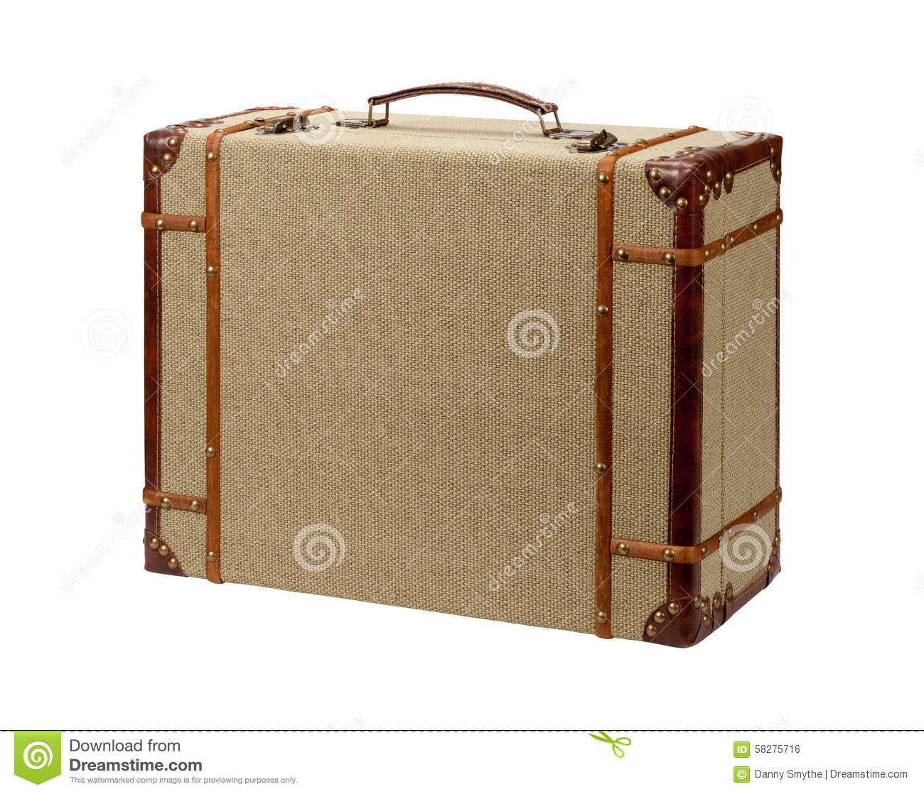 deco wood burlap suitcase with clipping path stock photo image 58275716. Black Bedroom Furniture Sets. Home Design Ideas