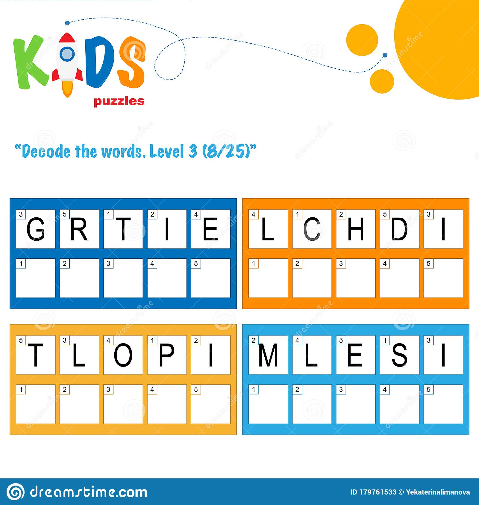 Decode The 5 Letter Words Fun Logic Puzzle Activity Sheet Stock Vector Illustration Of Exercise Activity 179761533