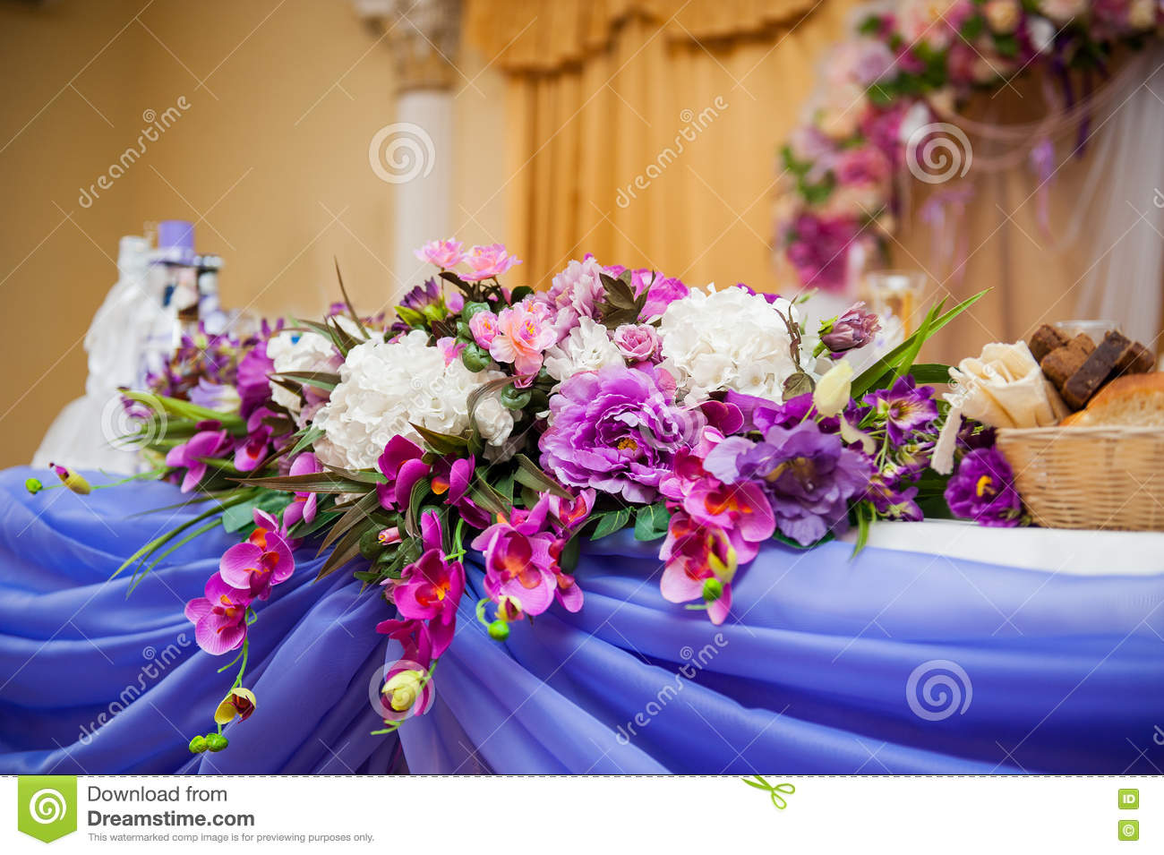 Decor Of Flowers On A Table Bride And Groom