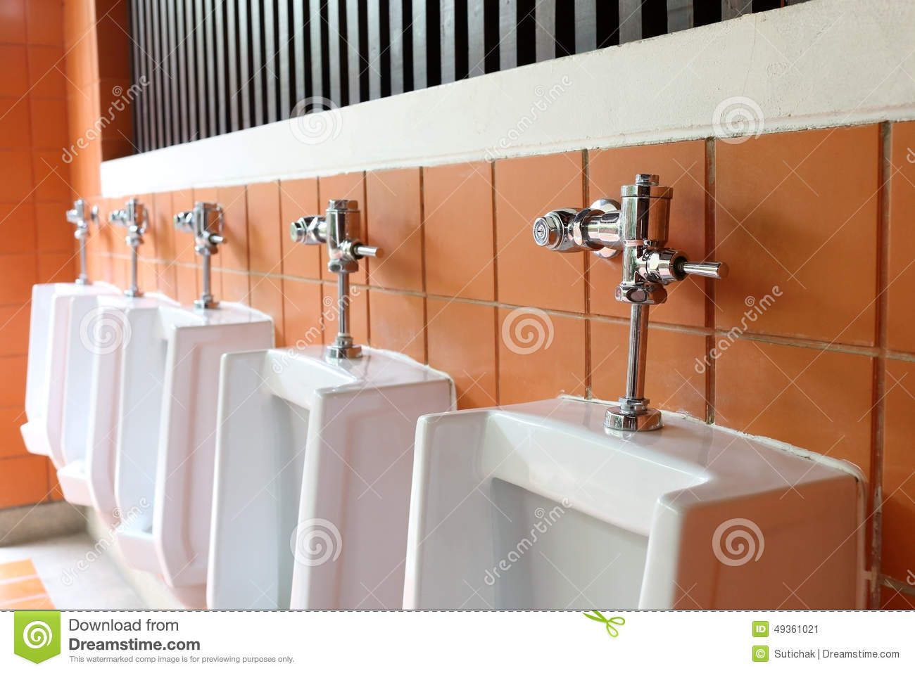 Decor interior of white urinals in men bathroom toilet for Male bathroom decor