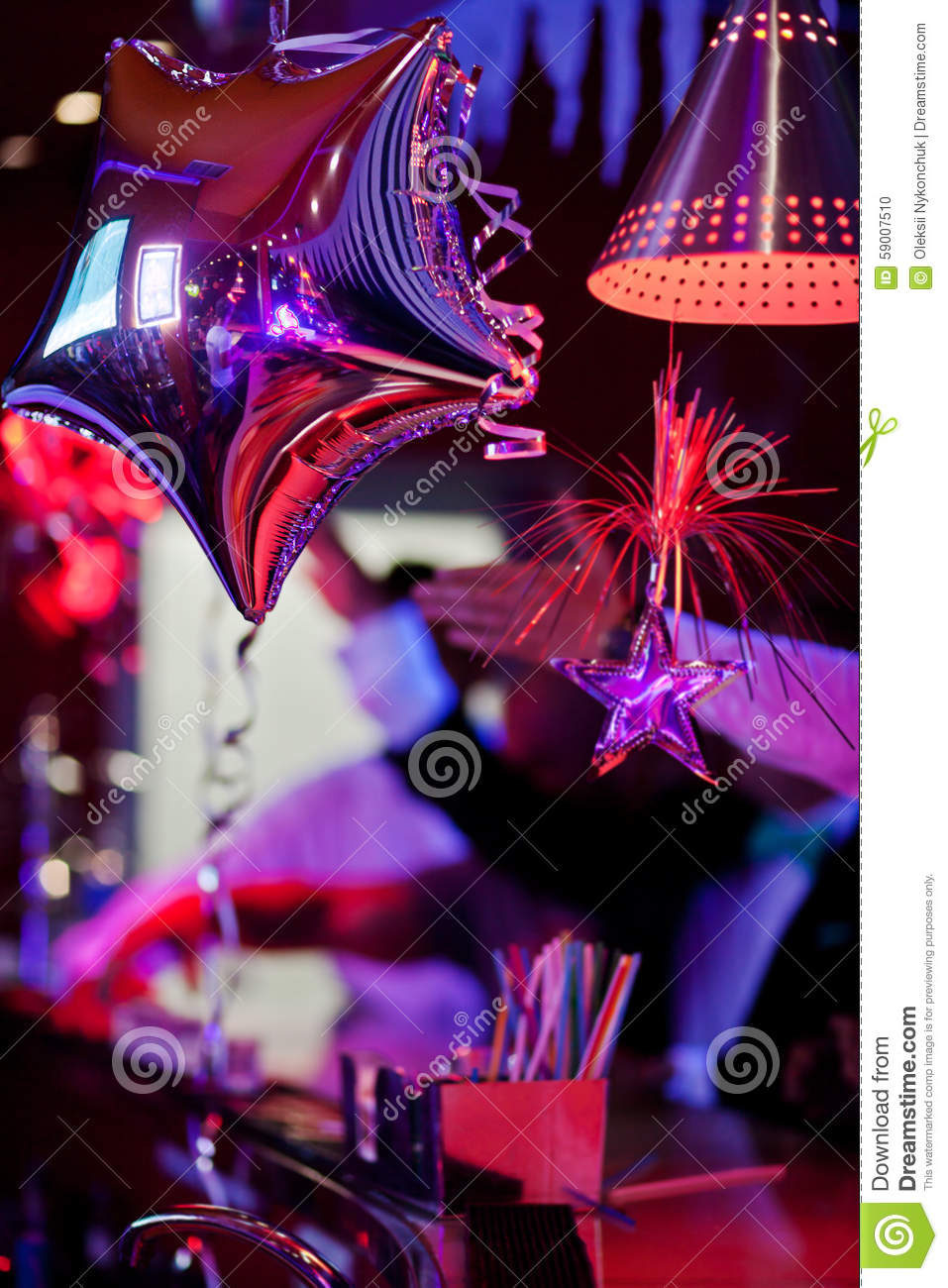 Decor In A Nightclub On Bar With Silver Star Stock Photo