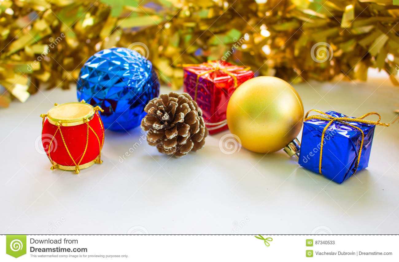 Christmas Drum Decor.Decor Objects For Christmas Or Chinese New Year Stock Image