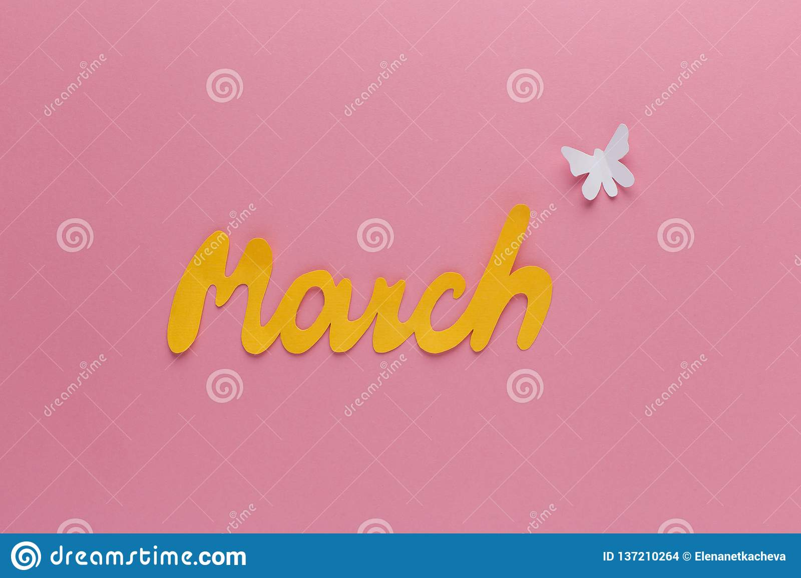 Letter March And Butterfly Of Paper On Pink Background ...