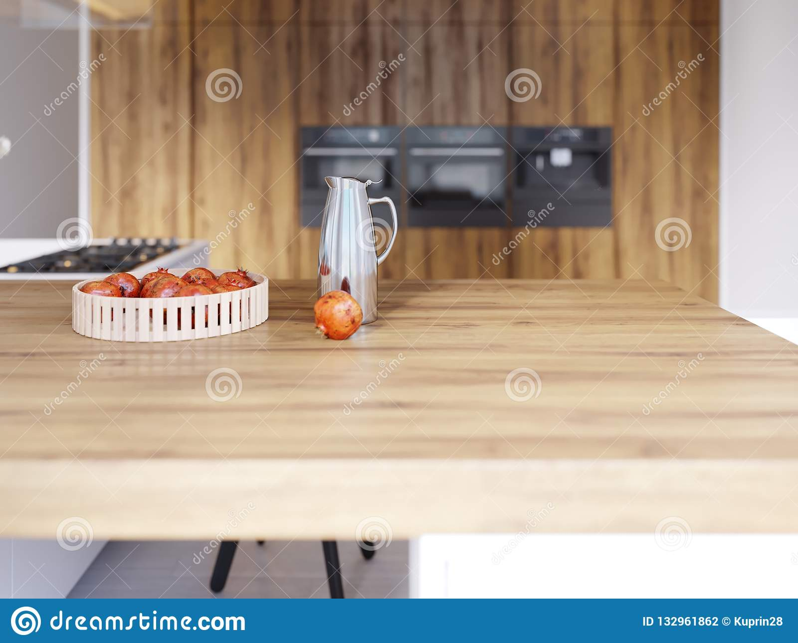 The Decor On The Wooden Dining Table And Bar. Depth Of Field