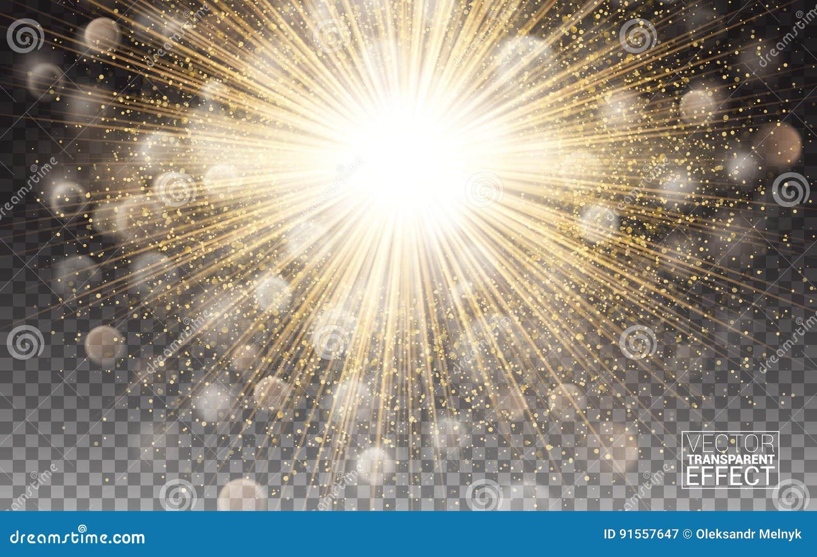Decoração brilhante do alargamento do efeito das luzes com sparkles A luz de incandescência do círculo do ouro estourou o brilho