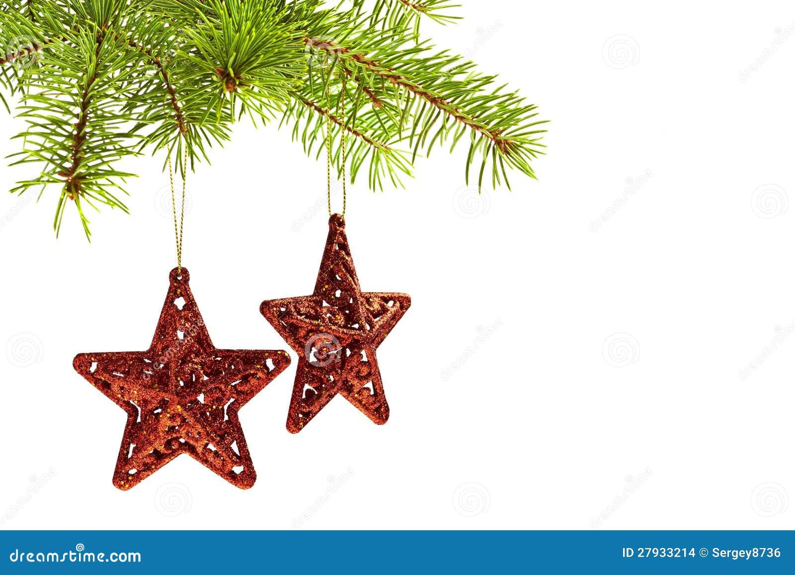 decoracao arvore de natal vermelha:Decoração Da árvore De Natal – Estrelas Vermelhas Imagens de Stock