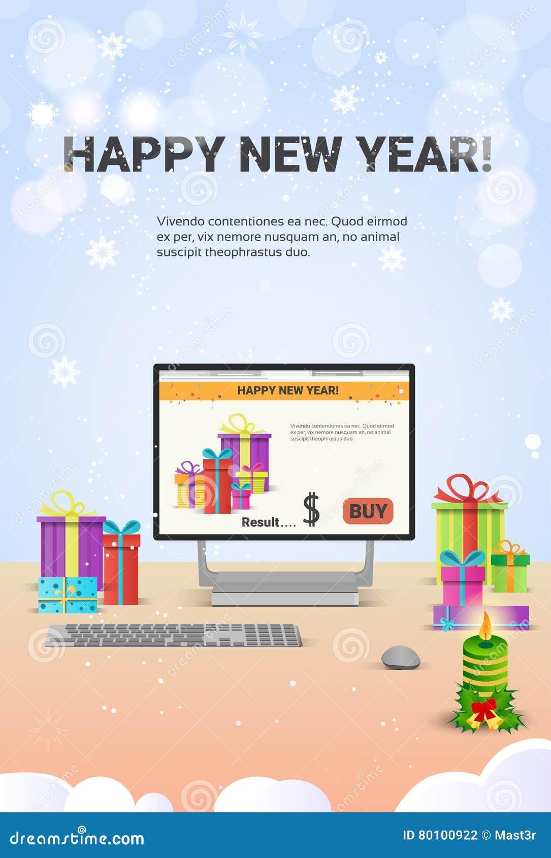 Decoração decorada do ano novo feliz do computador do local de trabalho