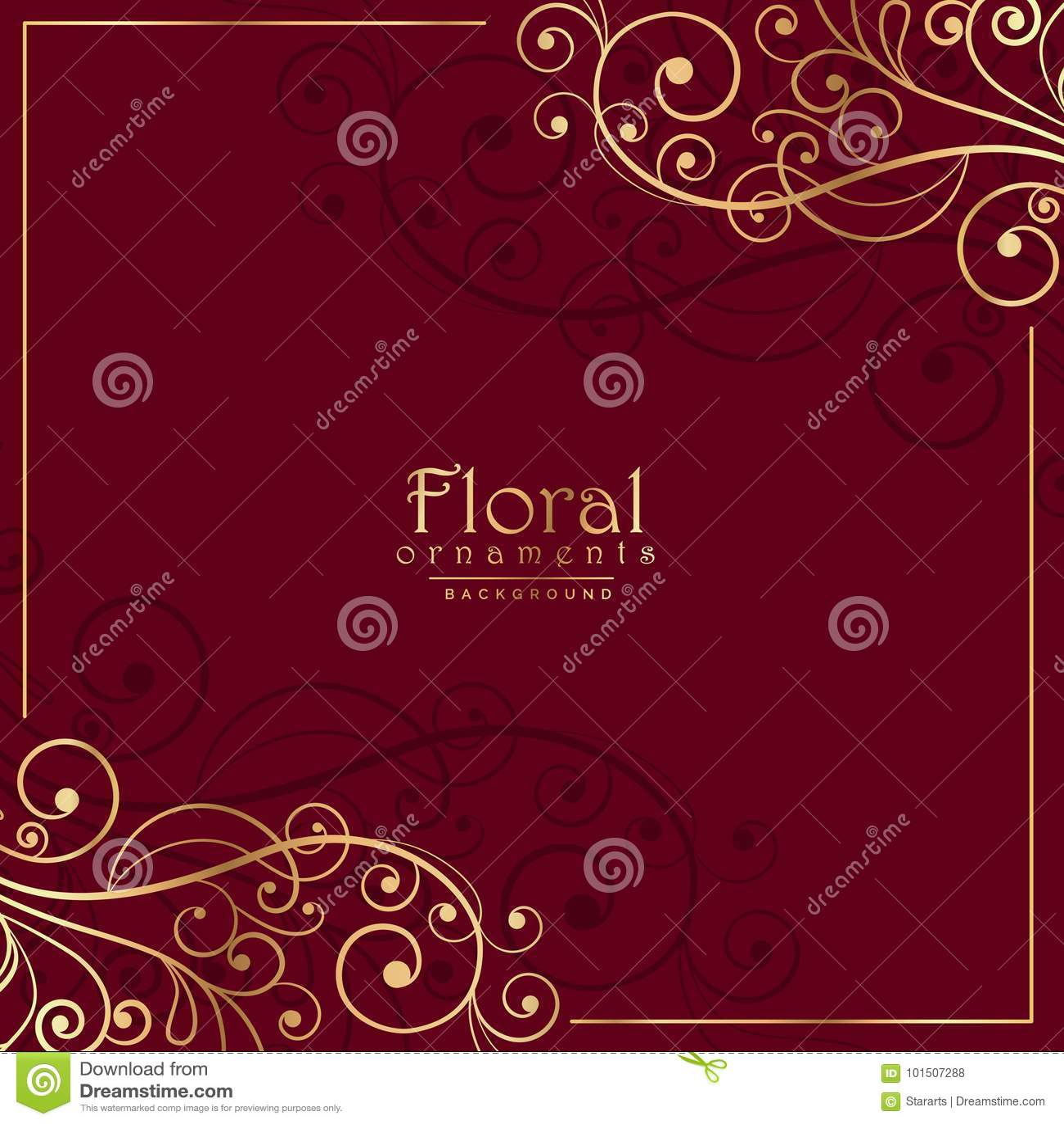 Decoração decorativa floral no fundo vermelho