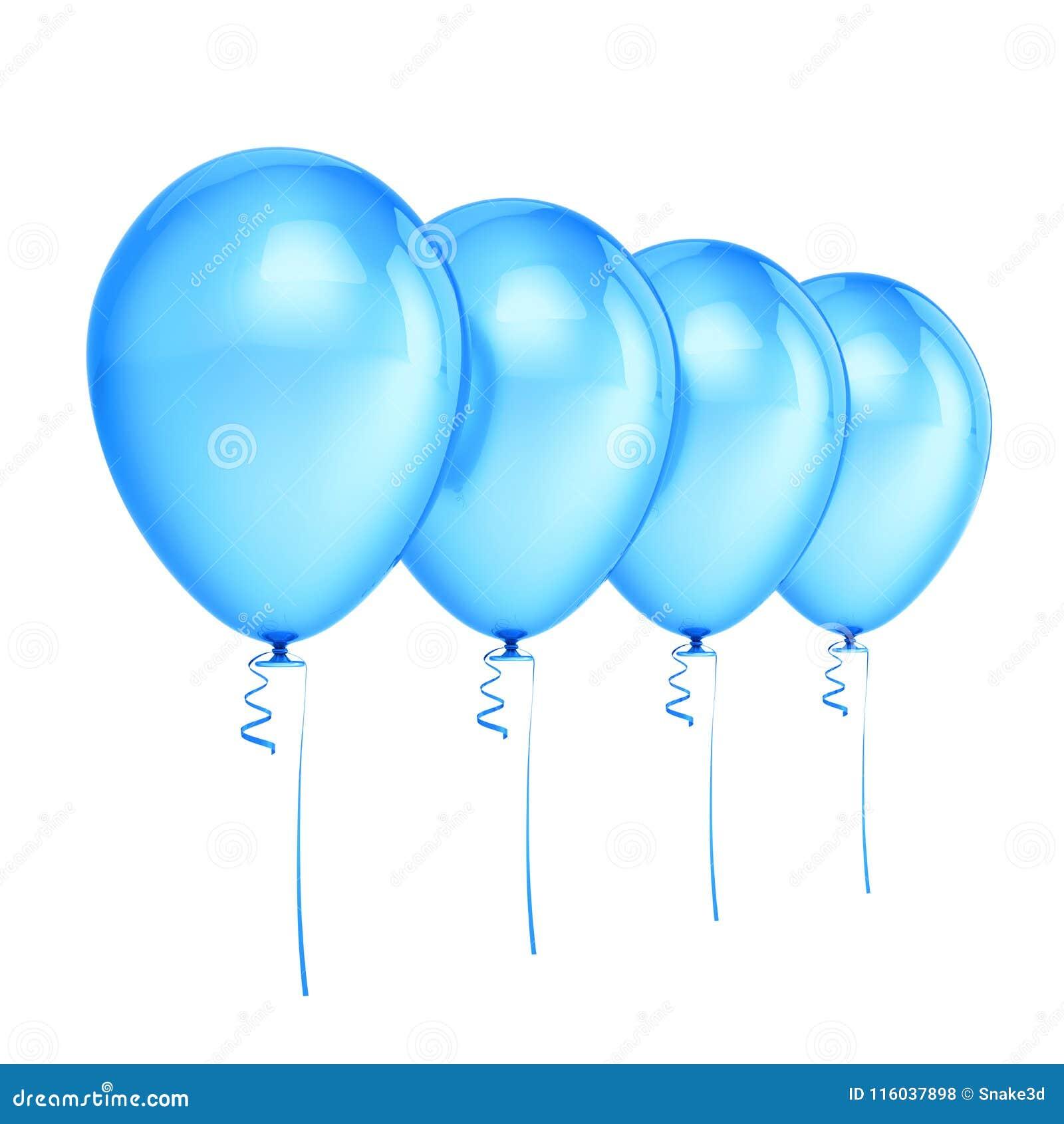 Decoração do azul do aniversário do partido de quatro balões