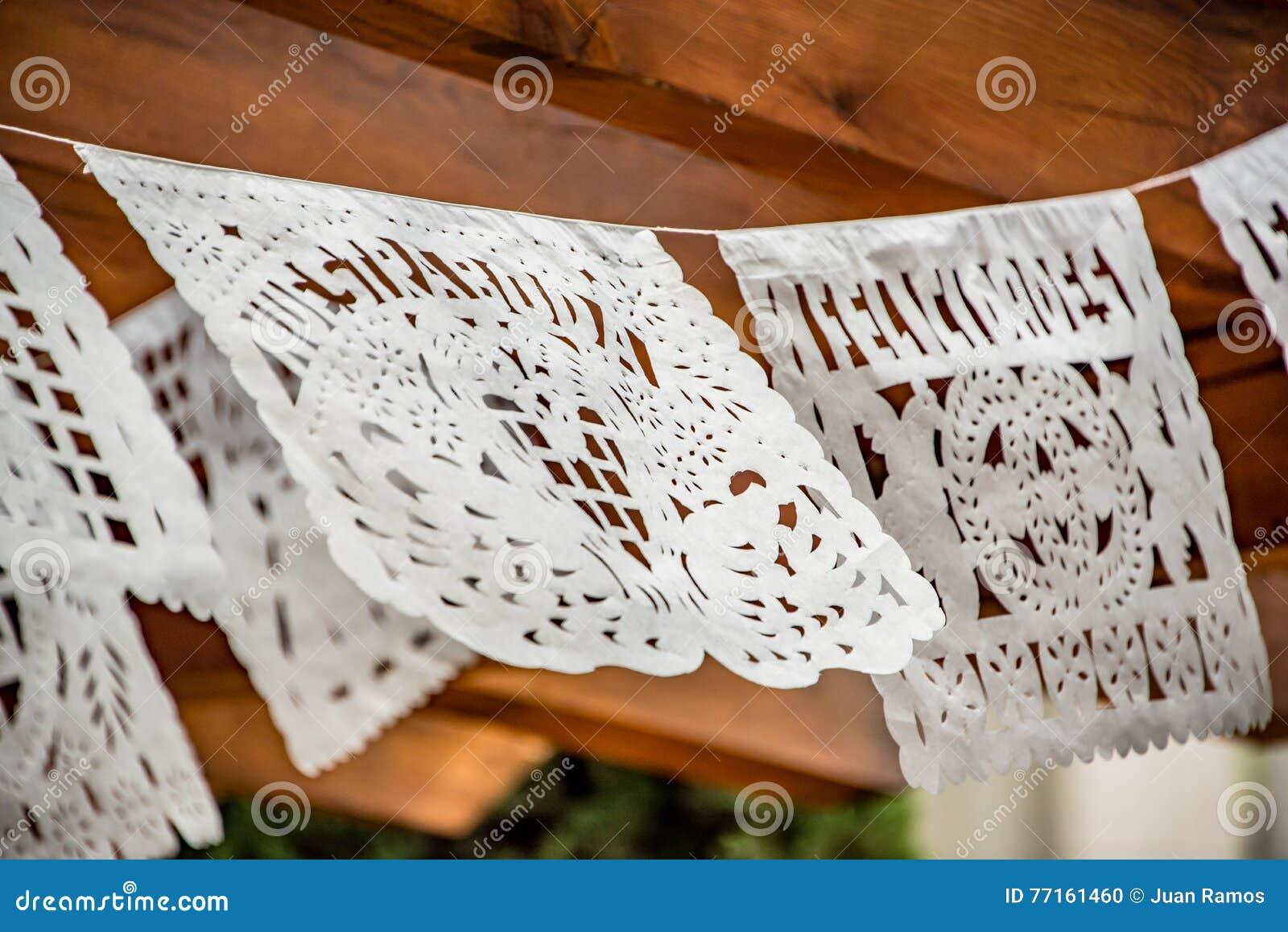 Decoração do casamento da bandeira do lenço de papel do corte do mexicano