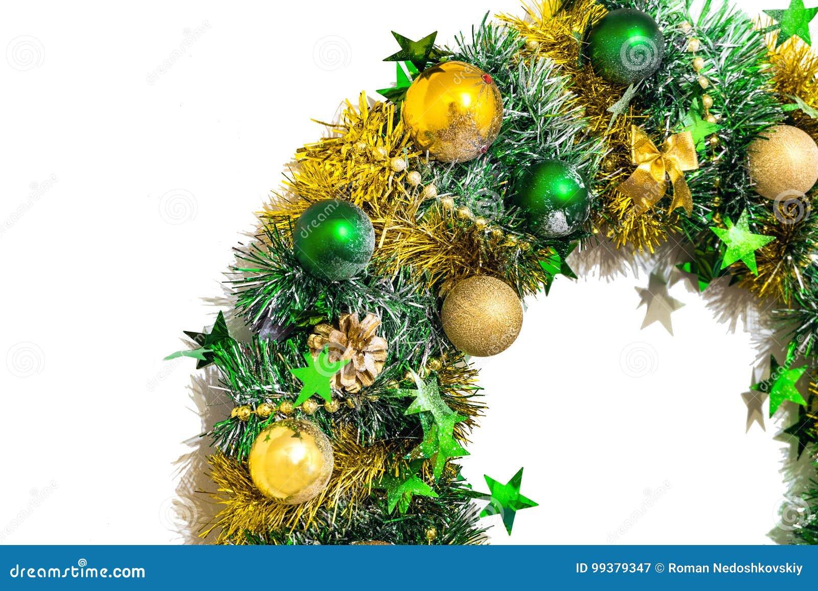 Decoração do Natal do ouropel, das curvas, das bolas, dos grânulos, dos cones e das estrelas