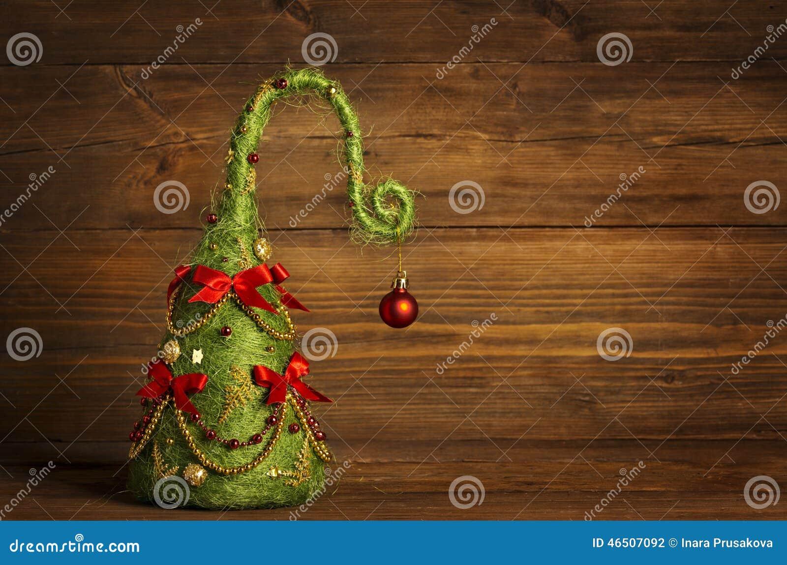 Decoração do sumário da árvore de Natal, fundo de madeira do Grunge
