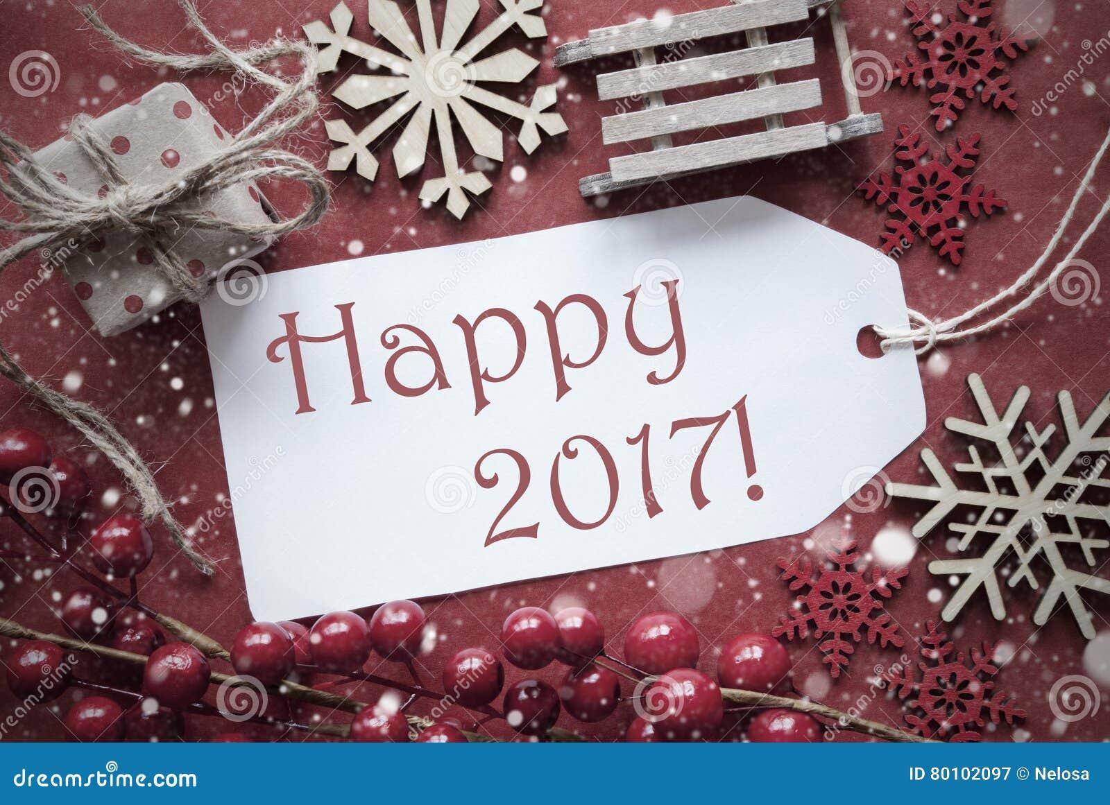 Decoração nostálgica do Natal, etiqueta com texto 2017 feliz