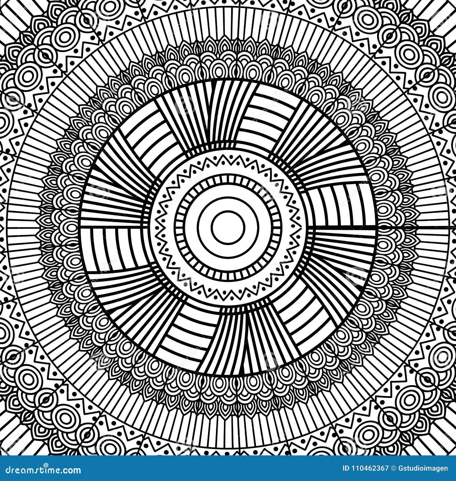 Decoração redonda tribal do ornamento da mandala geométrica preto e branco para o livro para colorir adulto