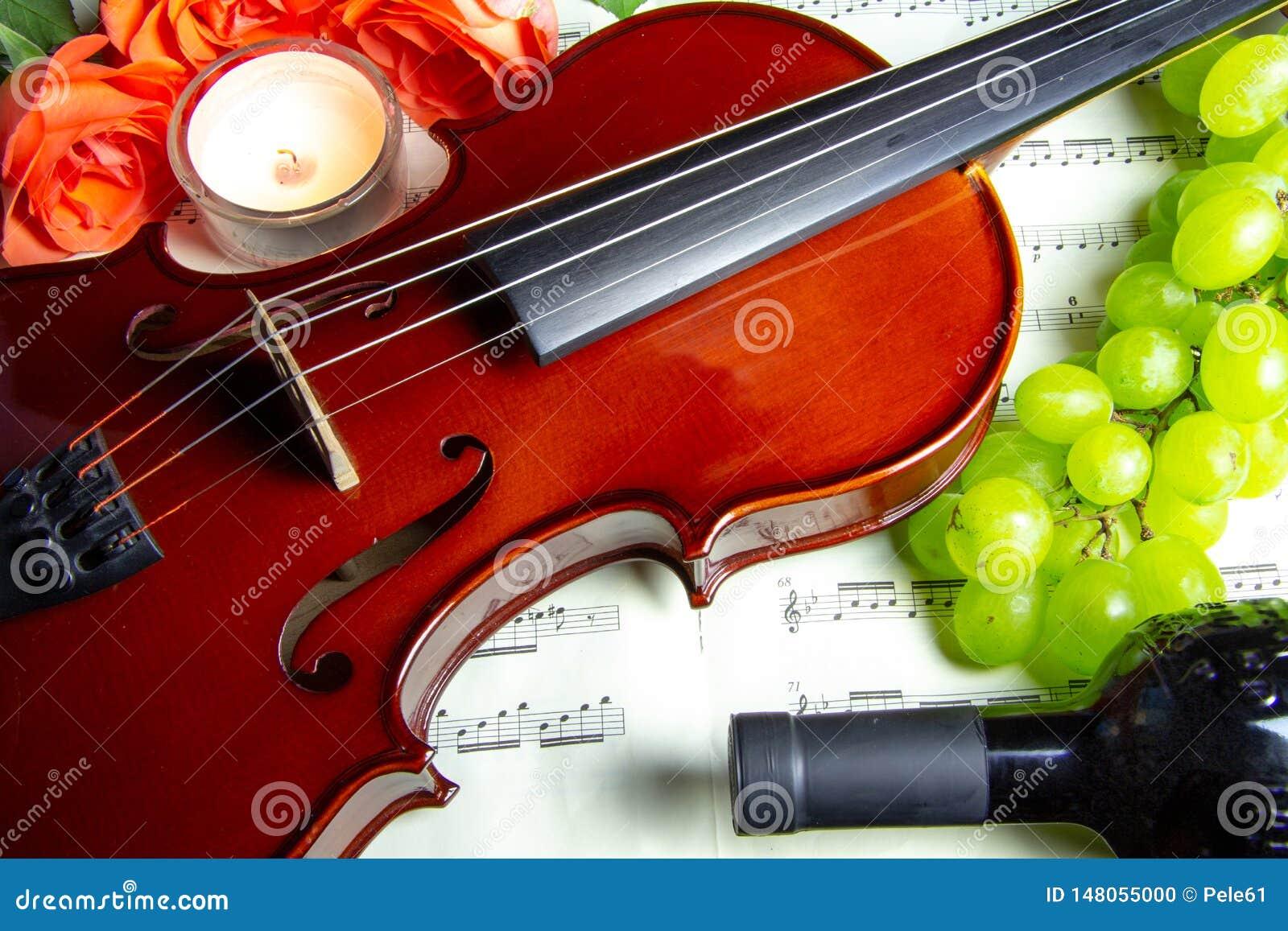 Decoração romântica do violino e do vinho