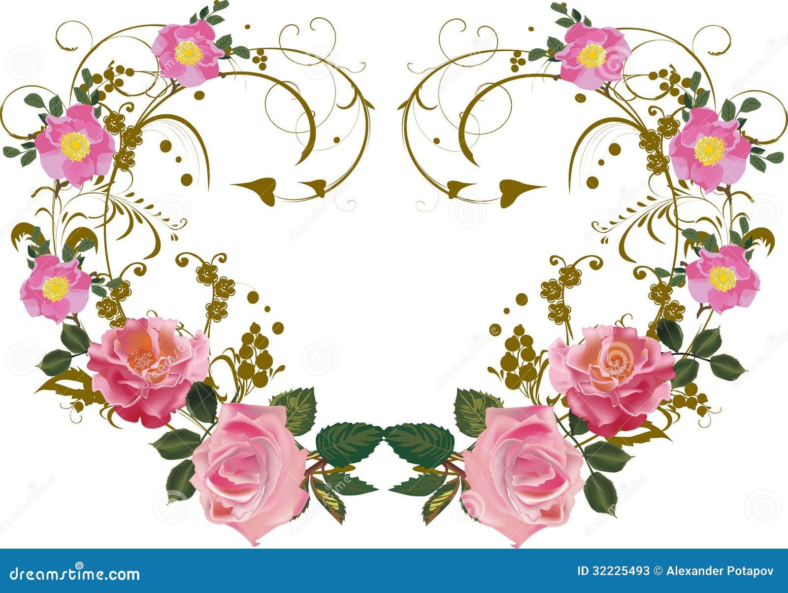 Download Decoração Simétrica Da Flor Da Rosa Do Rosa Ilustração do Vetor - Ilustração de vetor, flora: 32225493