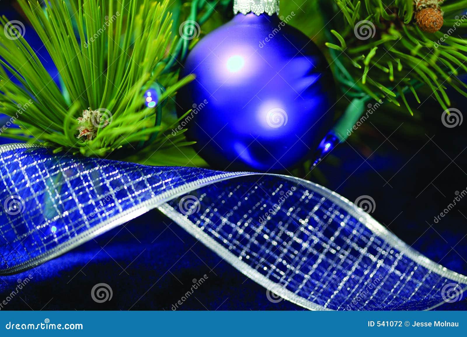 Decorações azuis da árvore de Natal