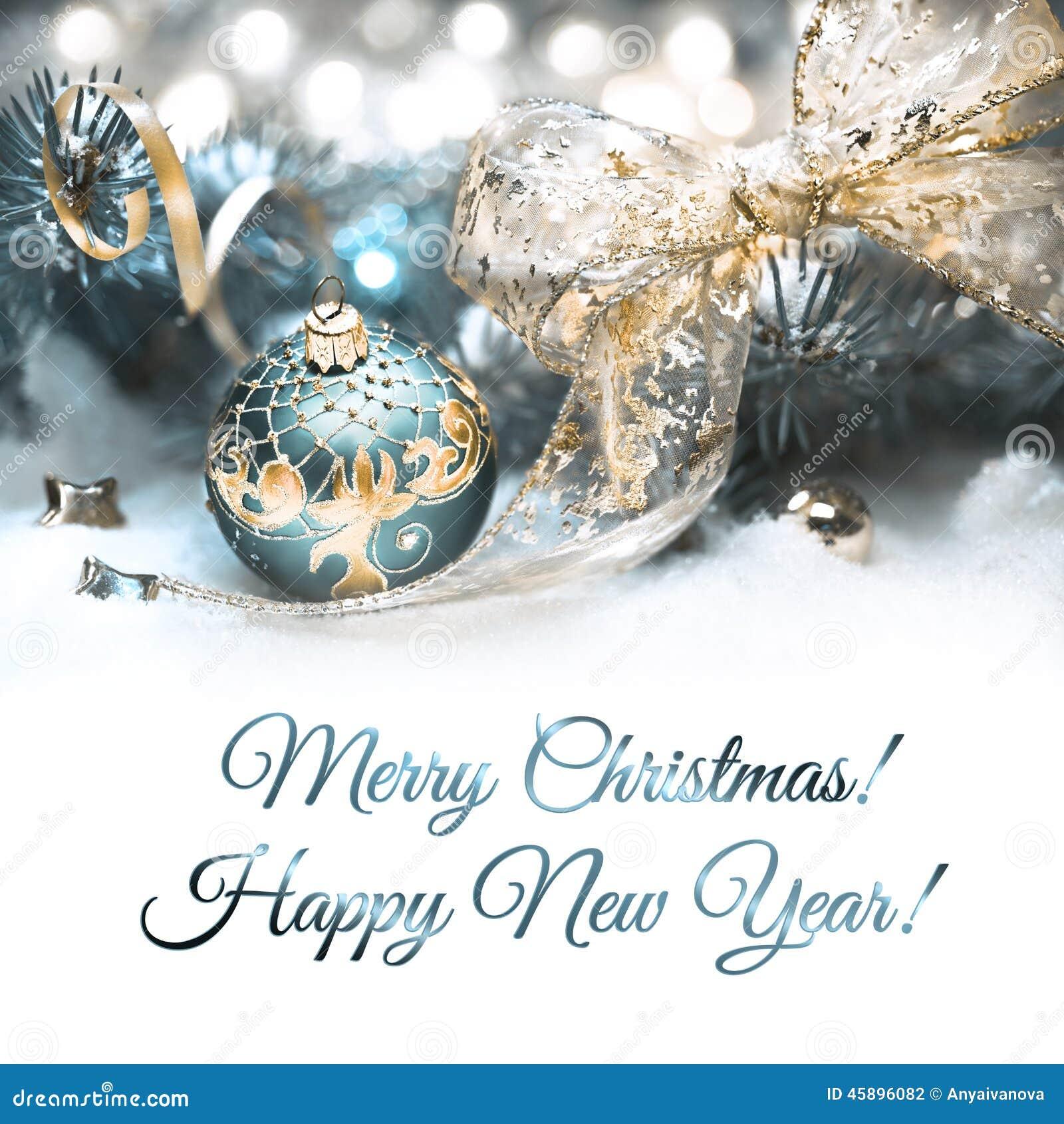 Decorações do Natal em ciano e no ouro, espaço do texto
