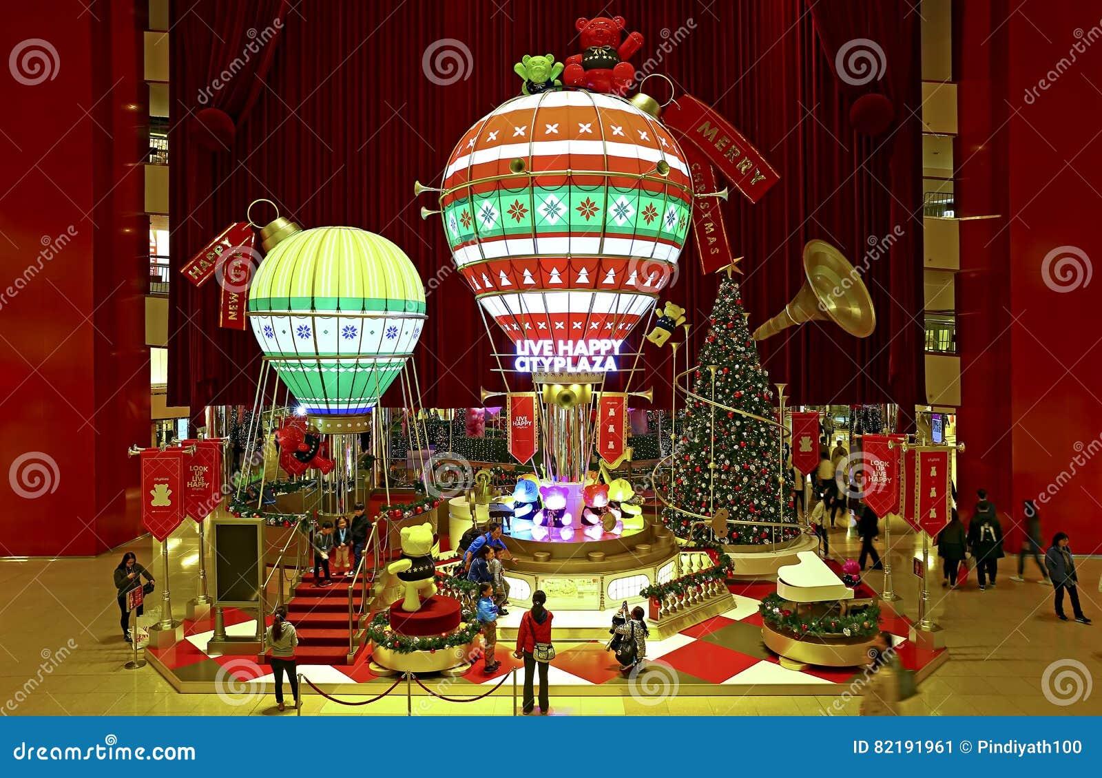 Decorações do Natal na alameda do cityplaza, Hong Kong