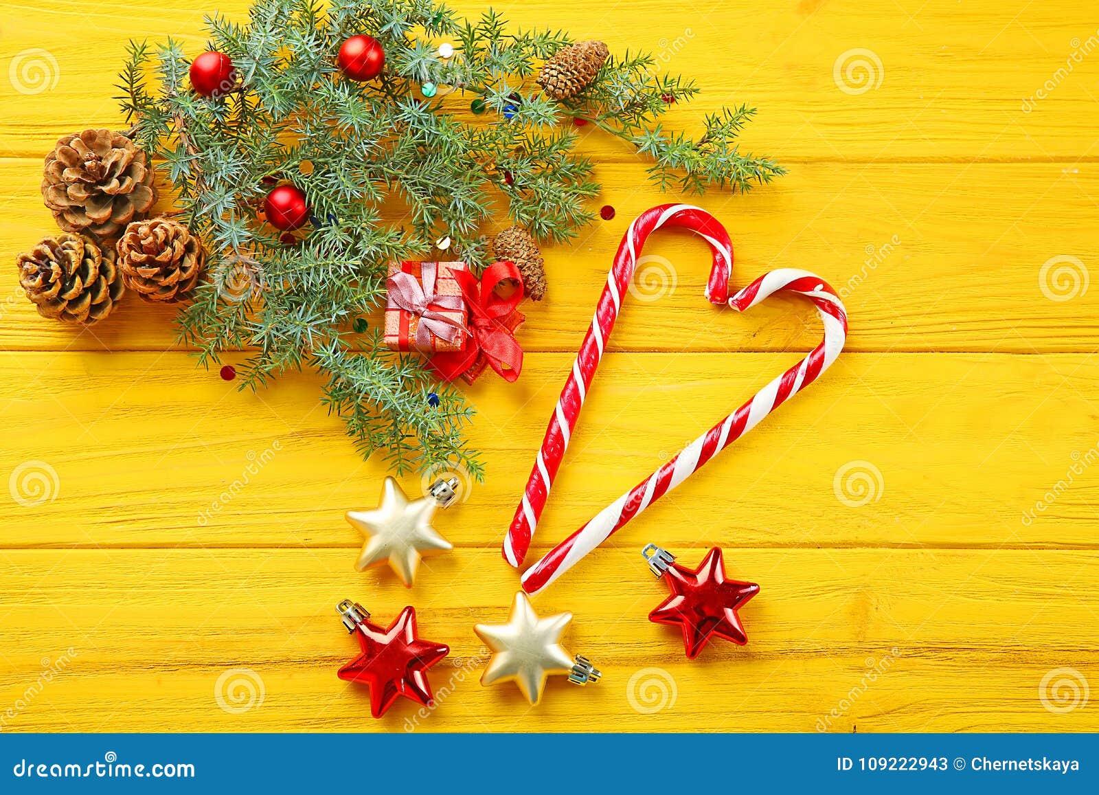 Decorações e doces do Natal