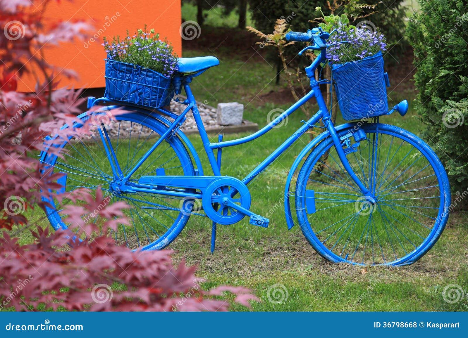 Decoraci n azul del jard n de la bicicleta fotos de - La bici azul ...