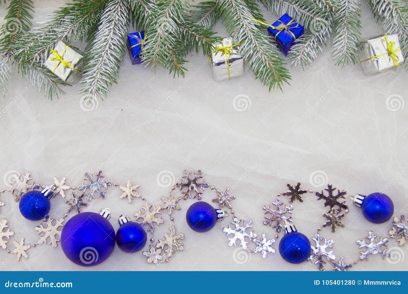 Decoración, Azul, Verde, Plata Y Blanco De La Navidad Foto