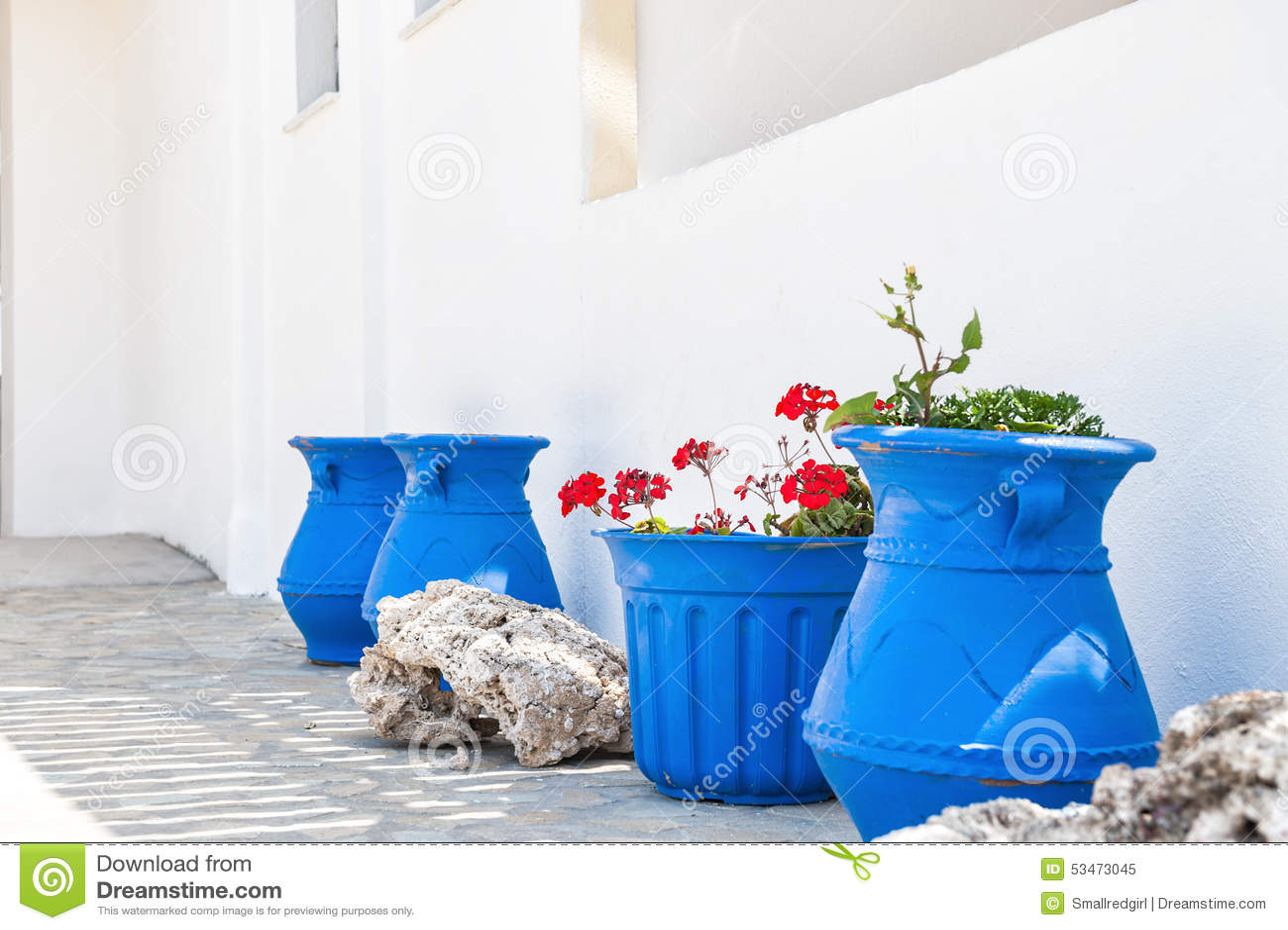 Decoración Blanco Azul Griega Nacional Imagen De Archivo