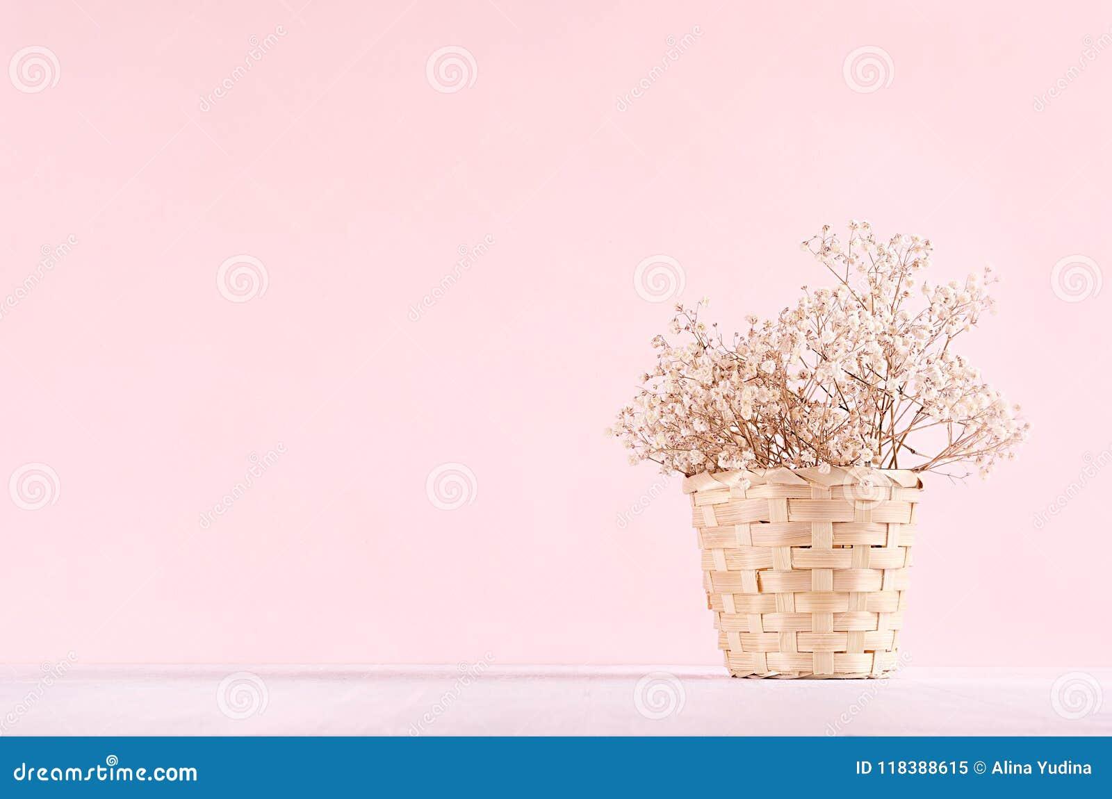Decoración casera del eco de la elegancia - el blanco secado florece el ramo en cubo en la tabla blanca y el fondo rosado de la m