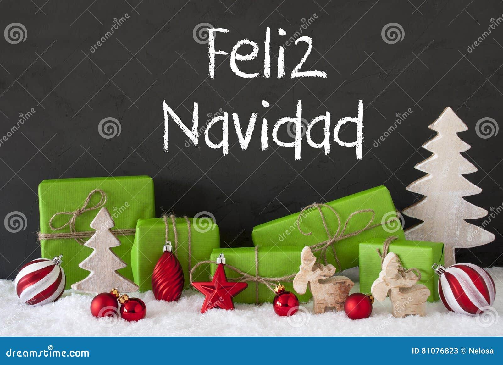 Decoración, cemento, nieve, Feliz Navidad Means Merry Christmas