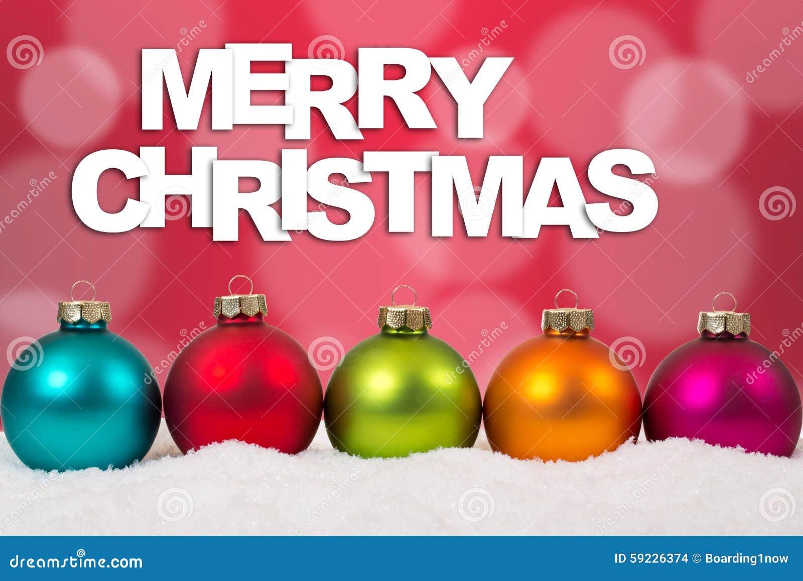 Decoración colorida de las bolas de la tarjeta de la Feliz Navidad en fila