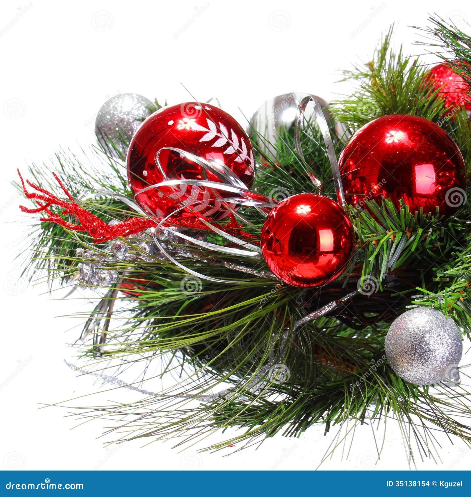 Decoraci n de la navidad bolas rojas en rama de rbol de for Arbol de navidad con bolas rojas