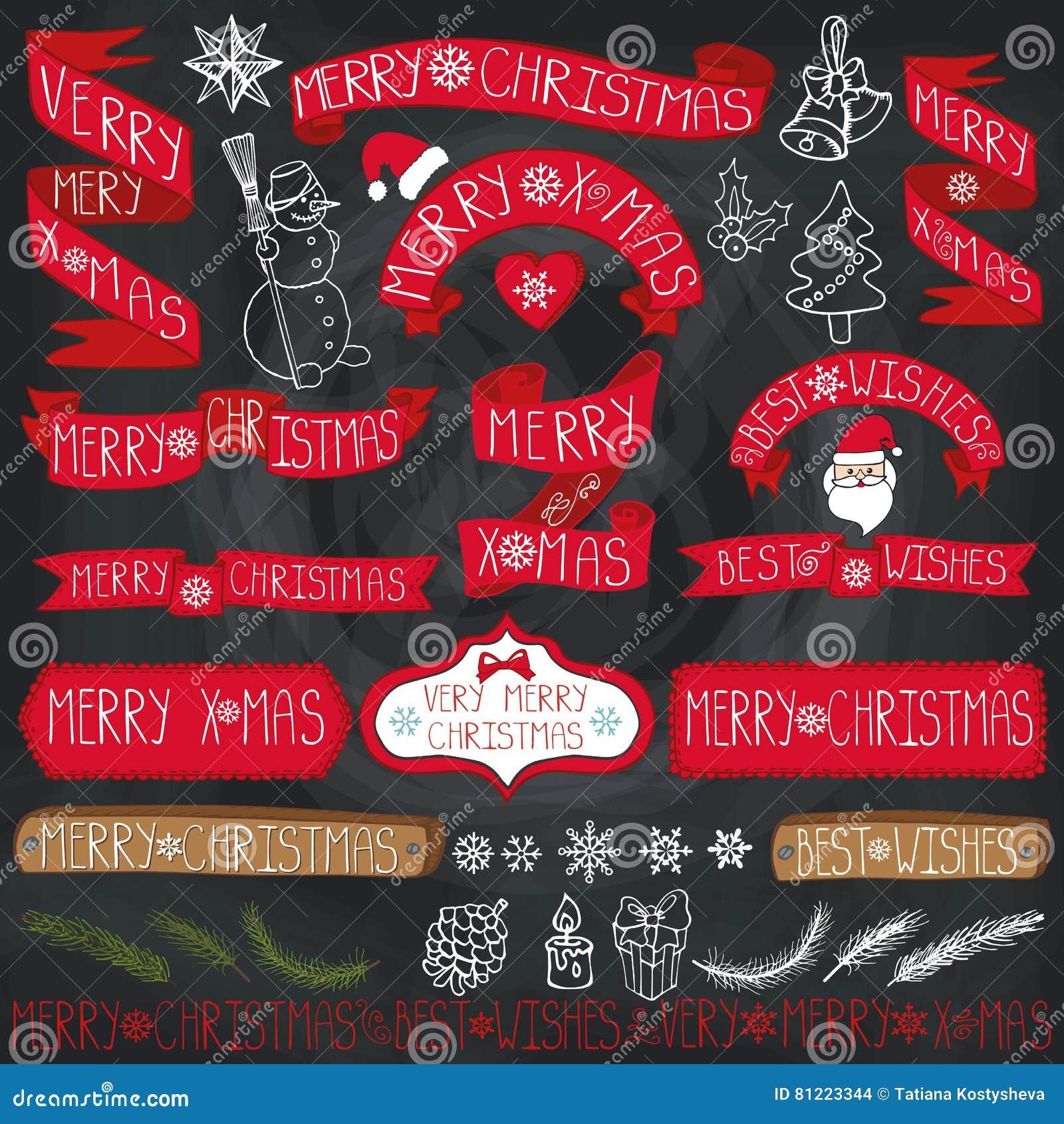 Decoración De La Navidad, Cintas, Etiquetas, Poniendo Letras Pizarra ...