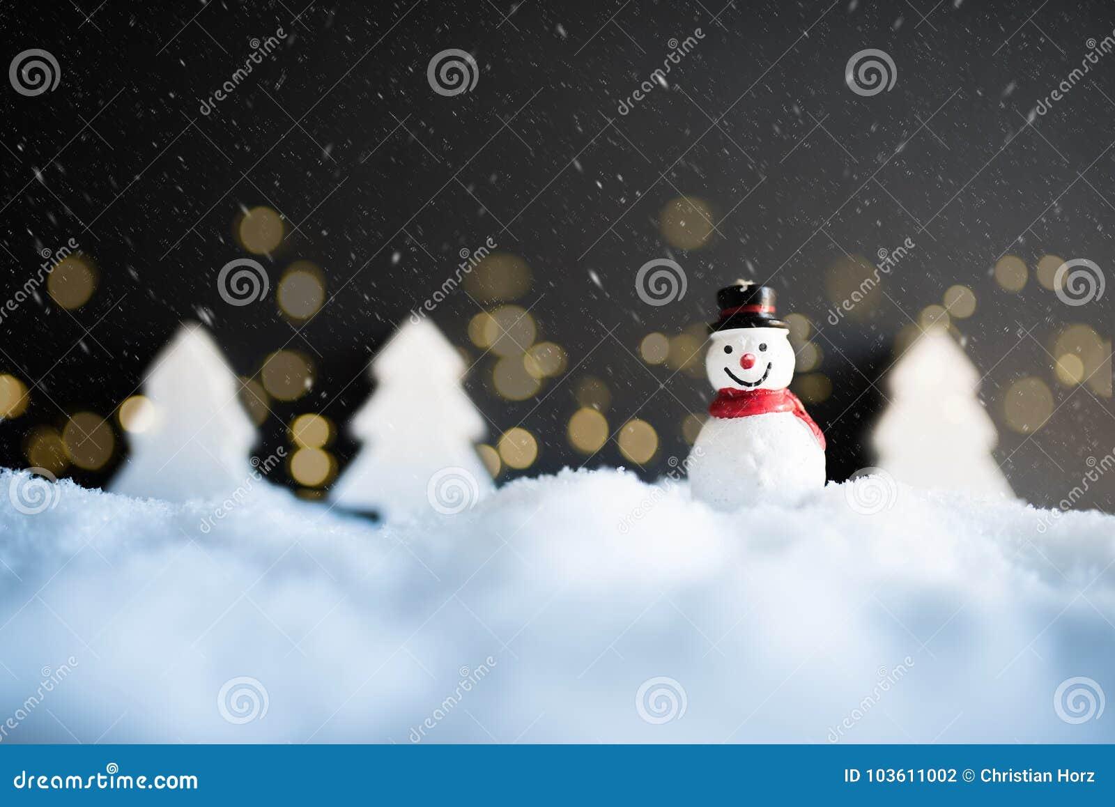 Decoración De La Navidad Del Invierno Nevado Con El Muñeco